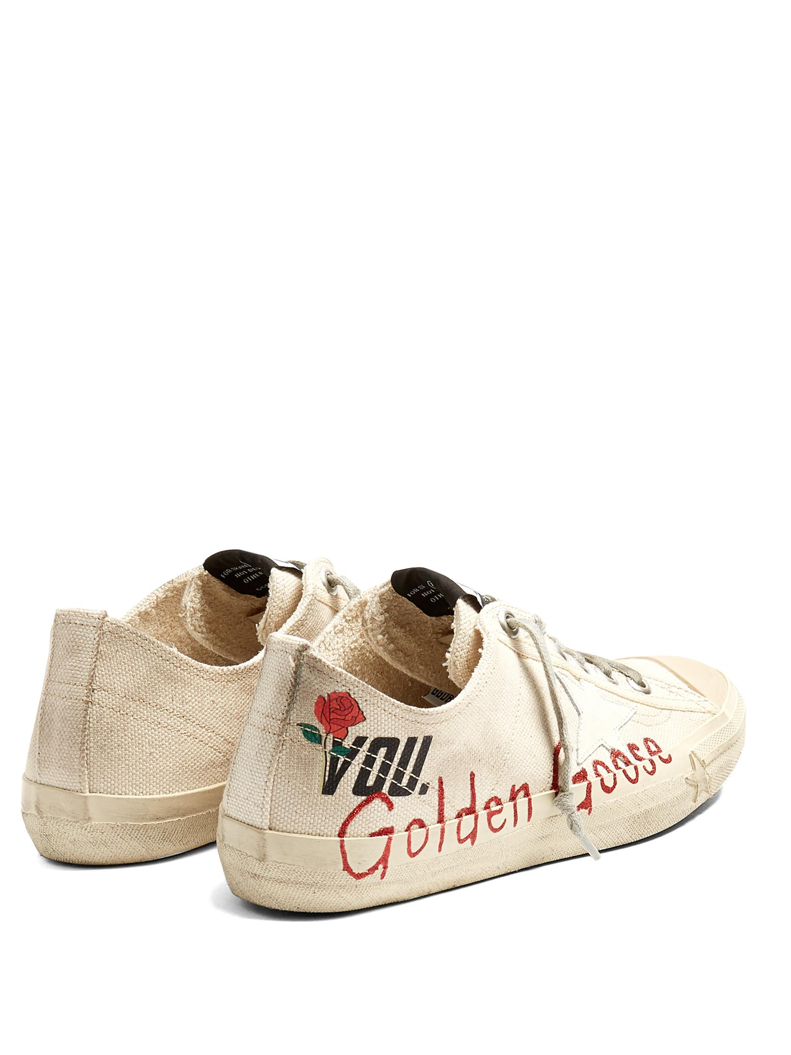 Golden Goose Deluxe Brand V-star 2 Low-top Canvas Trainers in White
