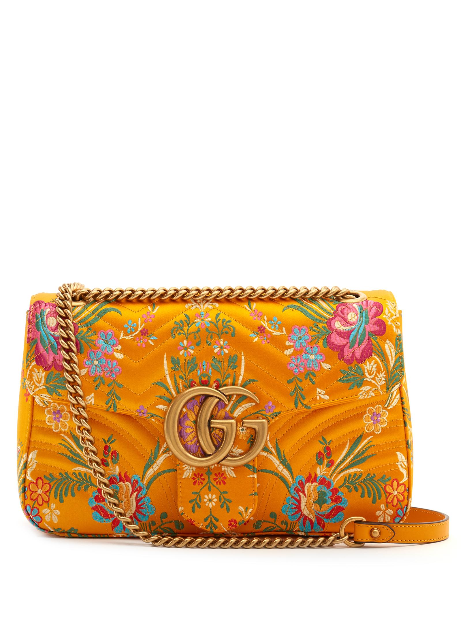 Lyst - Gucci Gg Marmont Floral-jacquard Shoulder Bag In Yellow