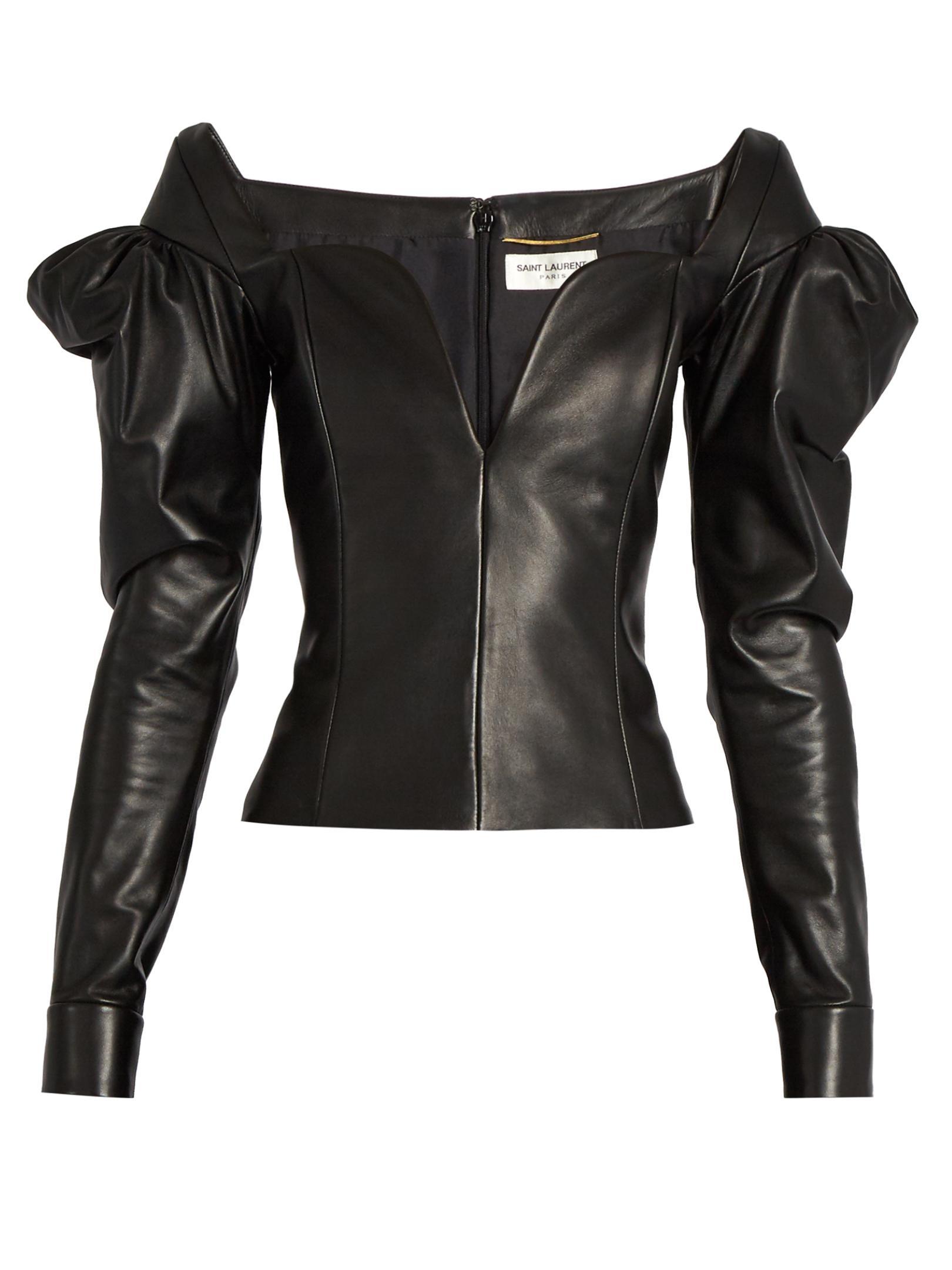 f6b7341b94 Lyst - Saint Laurent Sweetheart-neckline Leather Top in Black