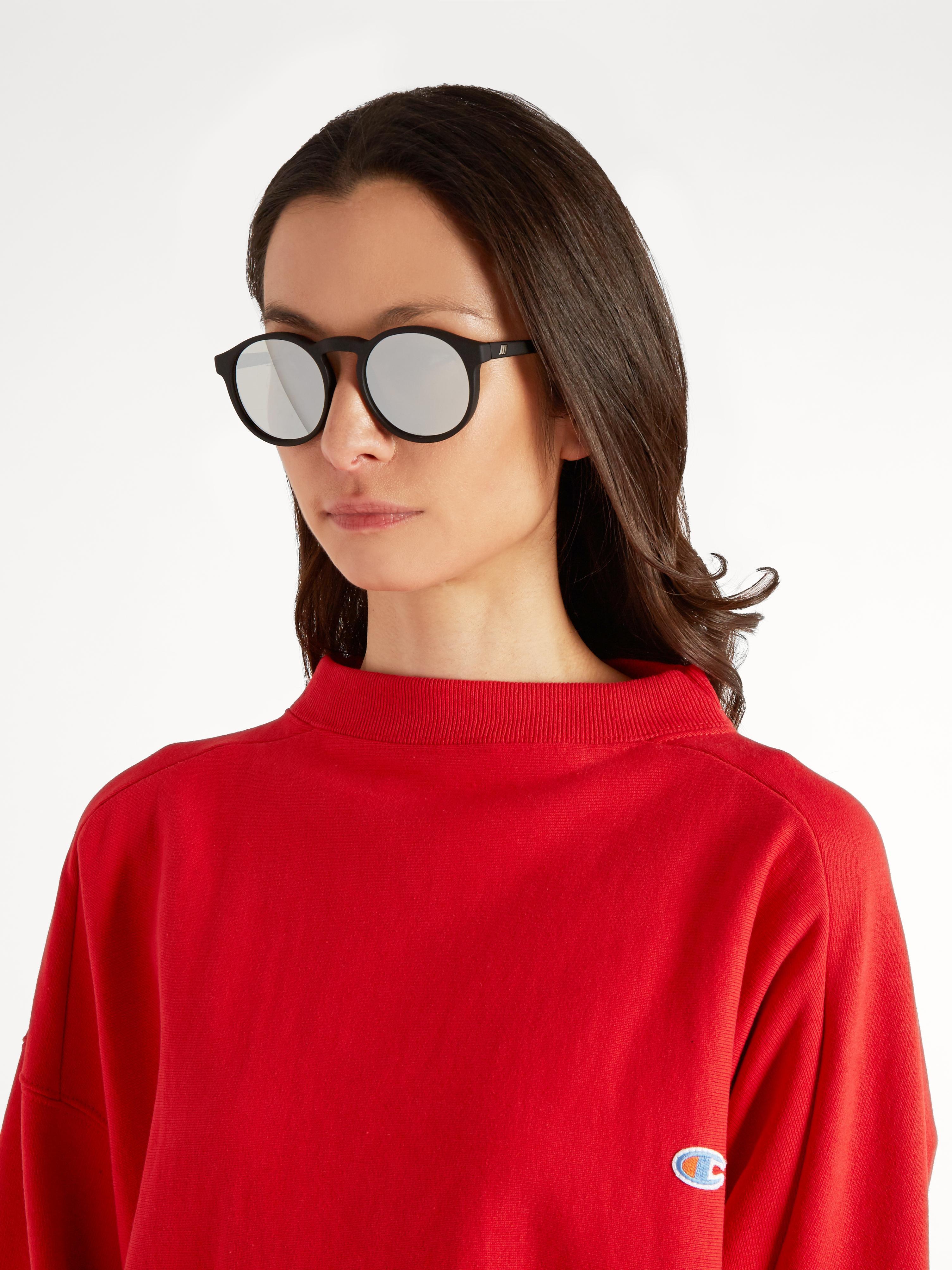 c499e7dda872 Le Specs Cubanos Round-frame Mirrored Sunglasses in Black - Lyst