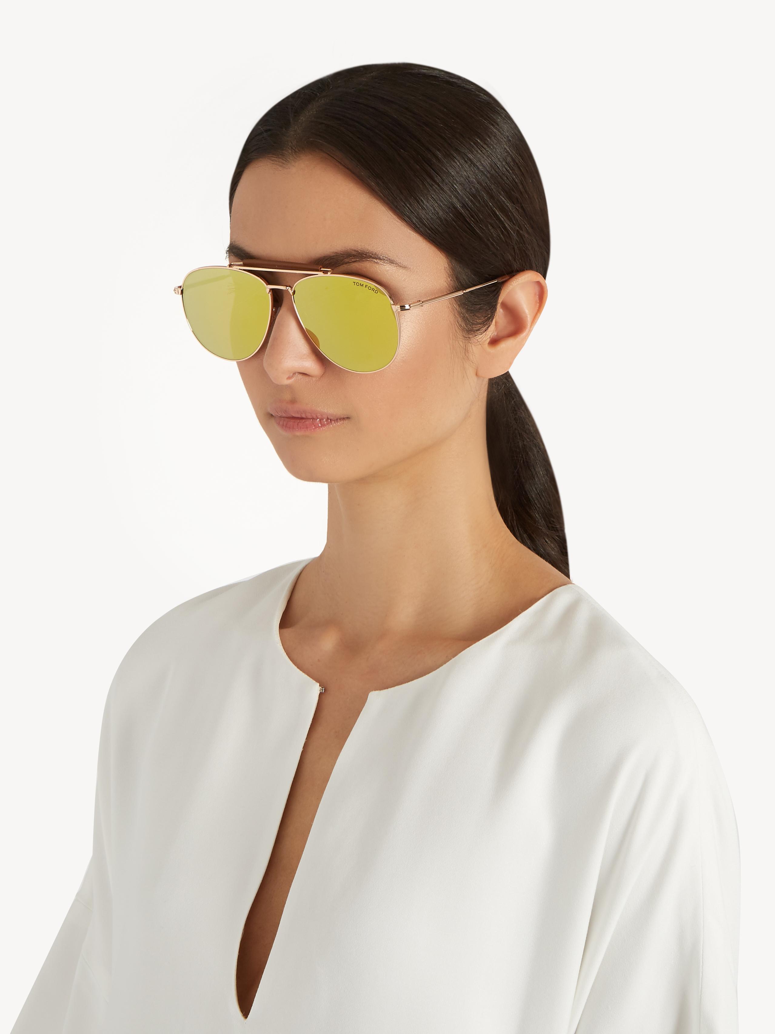 6f38c5e6722ca Lyst - Tom Ford Sean Mirrored Aviator Sunglasses in Metallic