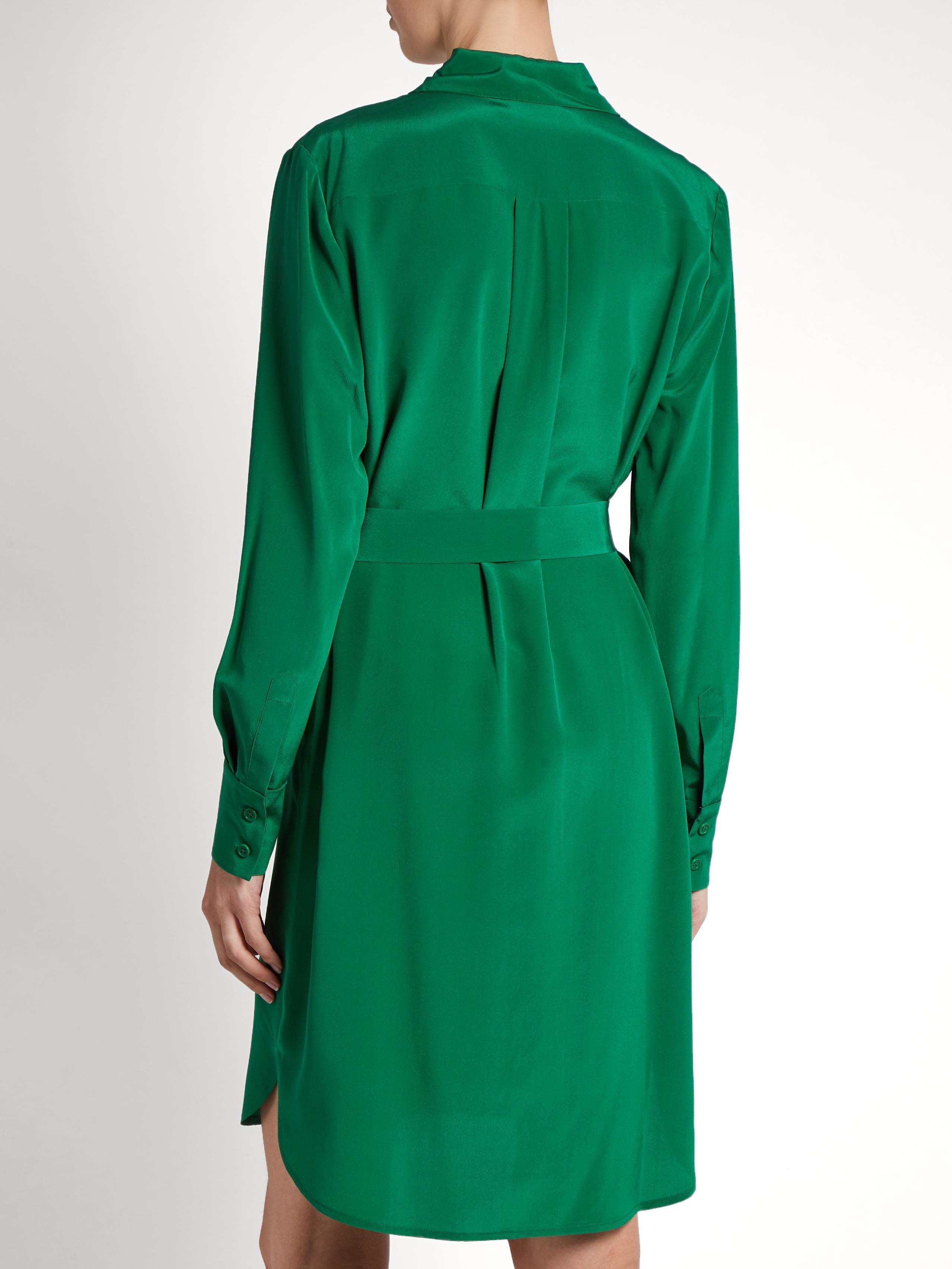 989e377259 ... Diane von Furstenberg Bi colour Silk Shirtdress in Green Lyst