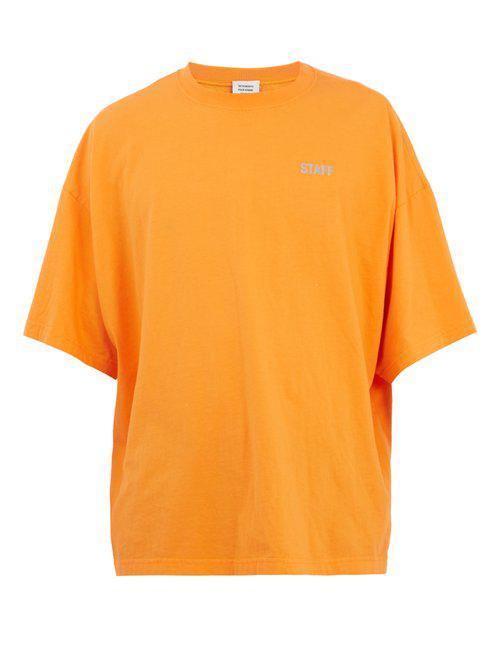 b8244758 Vetements Staff-print Jersey T-shirt in Orange for Men - Lyst