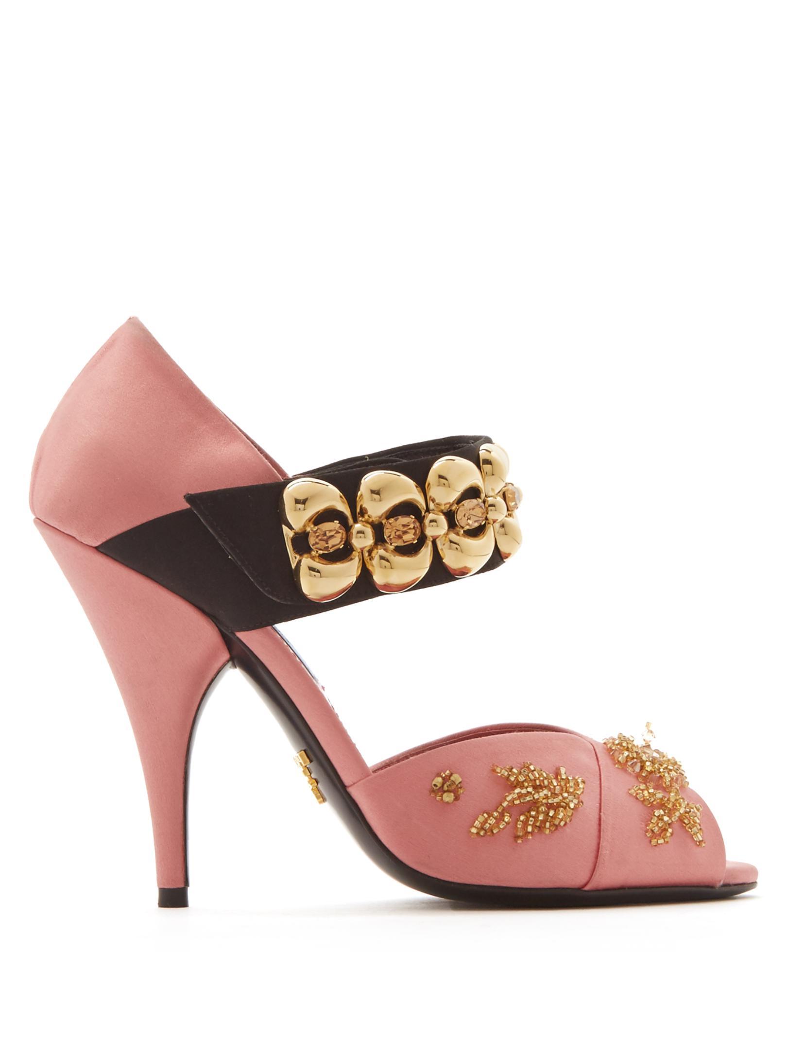 Pink Mary Jane 110 Satin Sandals - Pink & Purple Prada ptuGKX