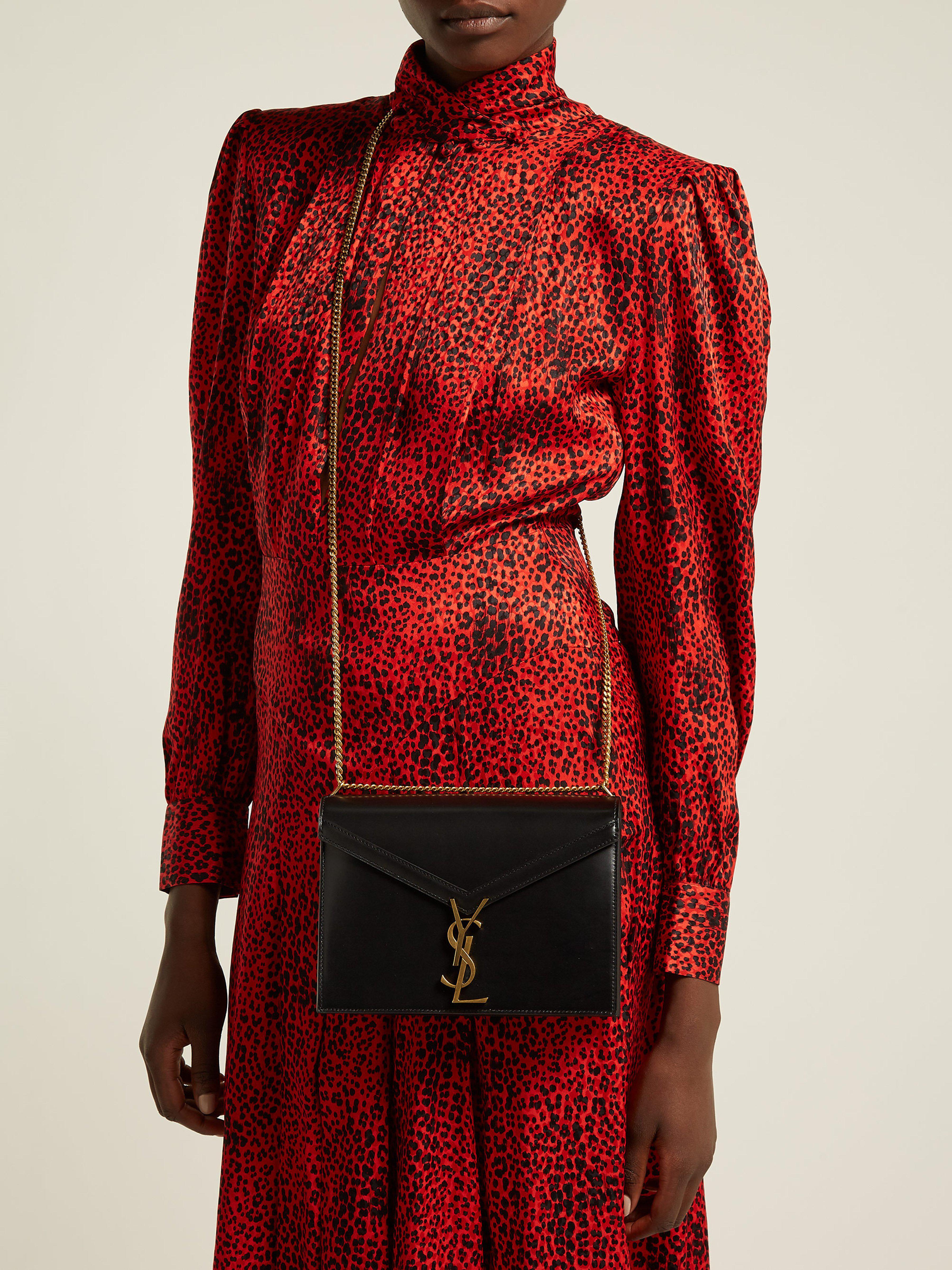 71f09ab9e11 Saint Laurent Cassandra Monogram Leather Cross Body Bag in Black - Lyst