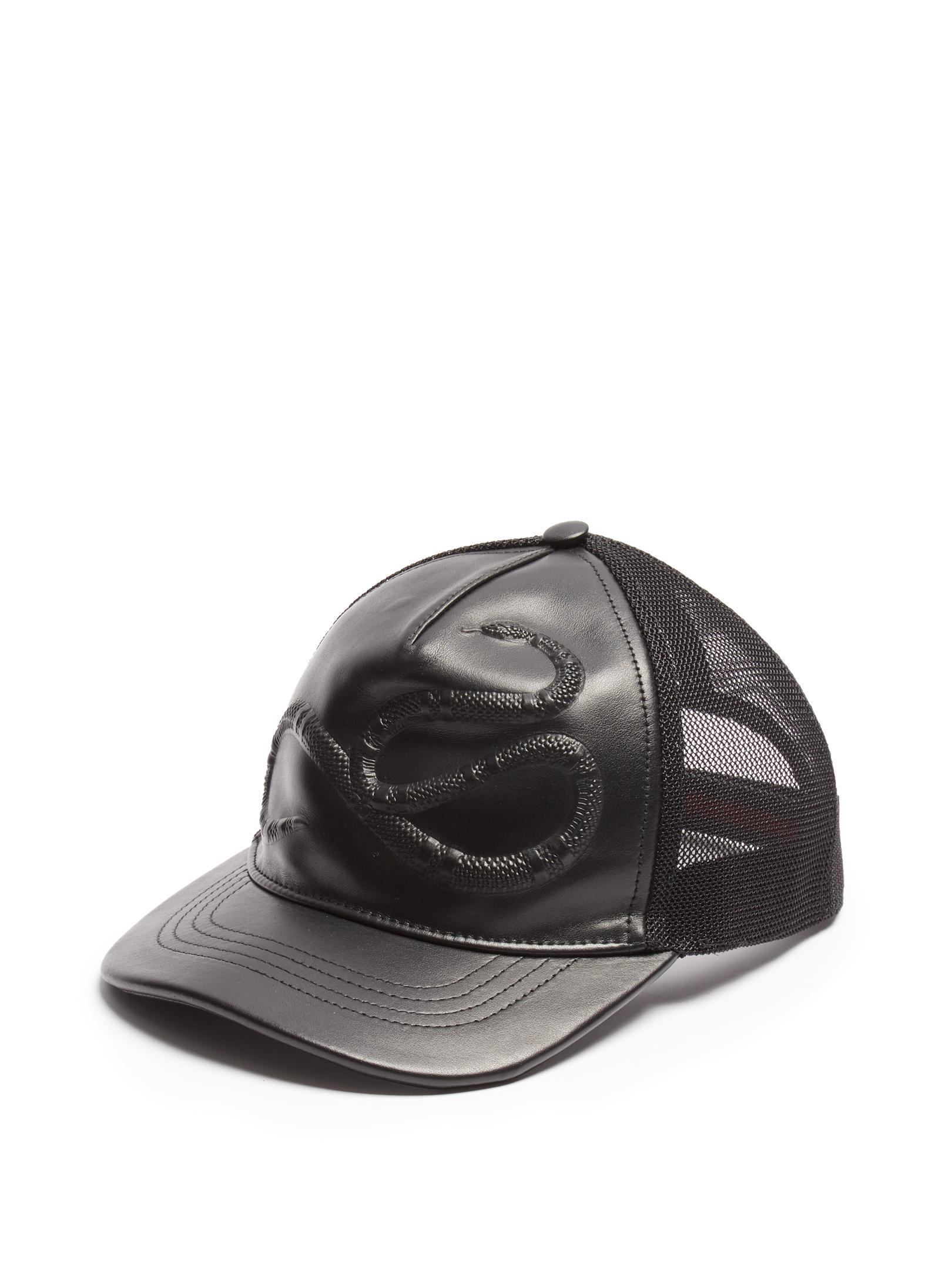Lyst - Gucci Snake-embossed Leather Baseball Cap in Black for Men 52278707765