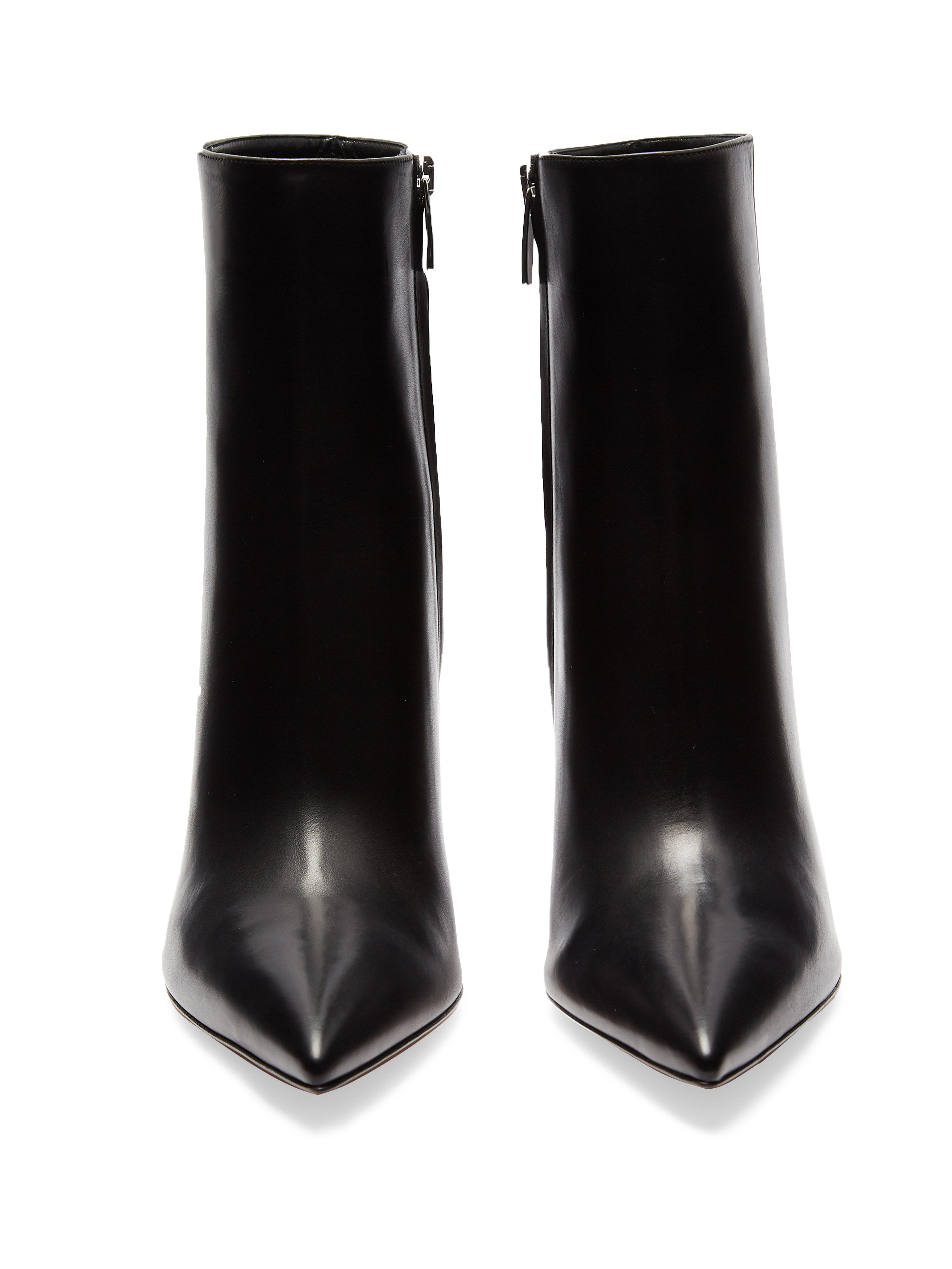 Gianvito Rossi Leather Scarlett Point-toe Ankle Boots in Black