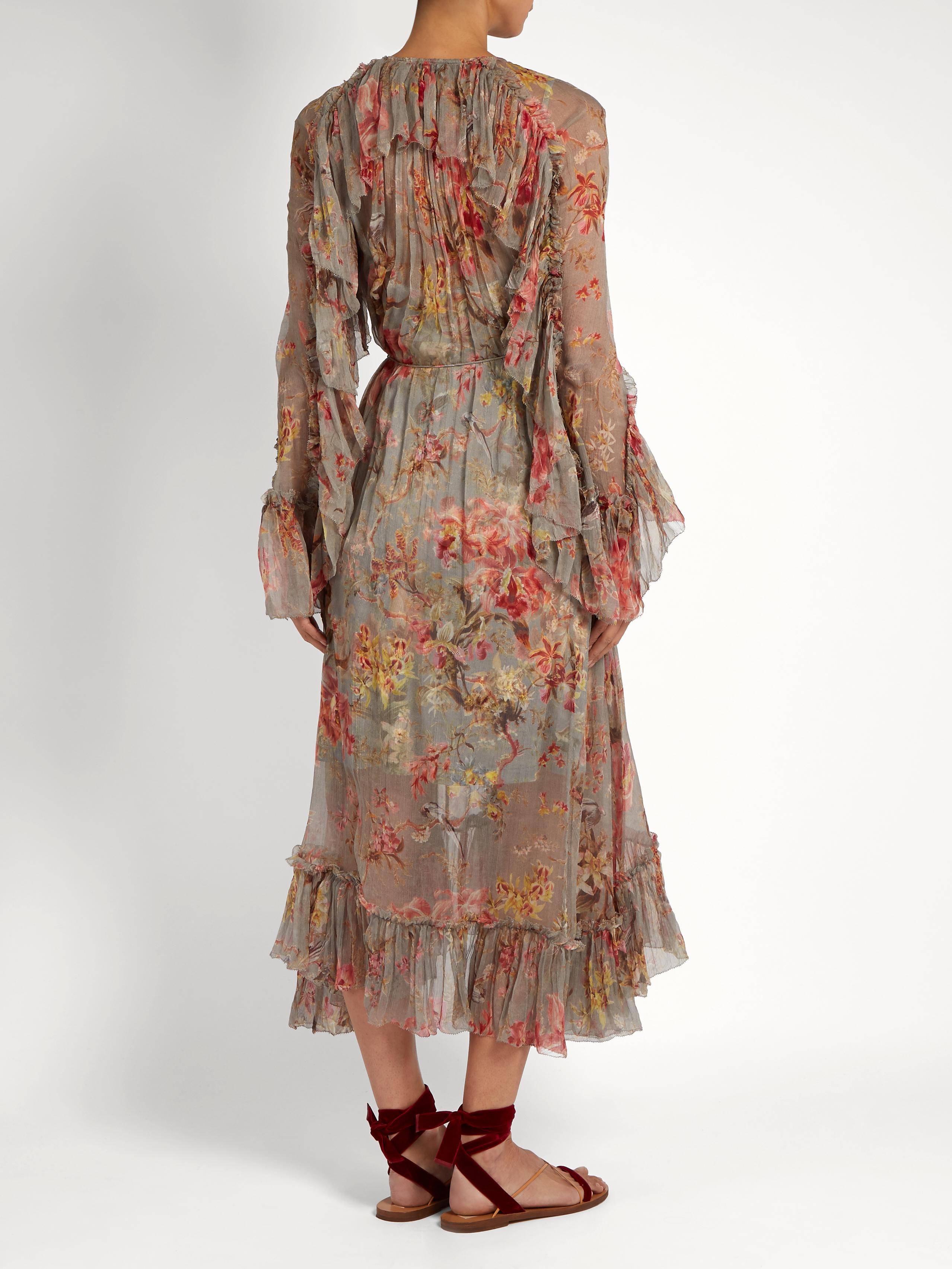 Zimmermann Mercer Floating Floral-print Silk-chiffon Dress