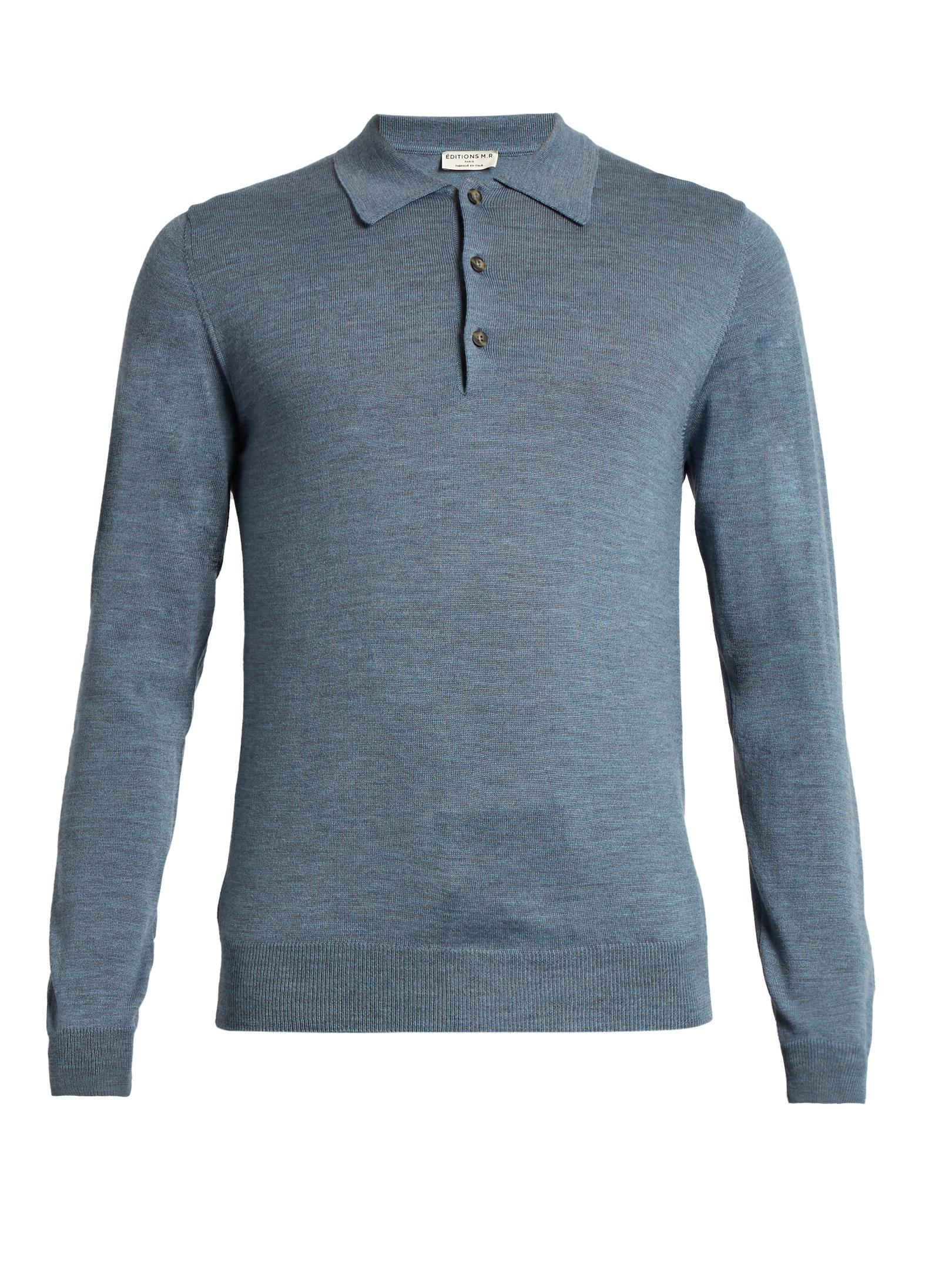 Ditions mr long sleeved wool knit polo shirt in blue for for Long sleeve wool polo shirts