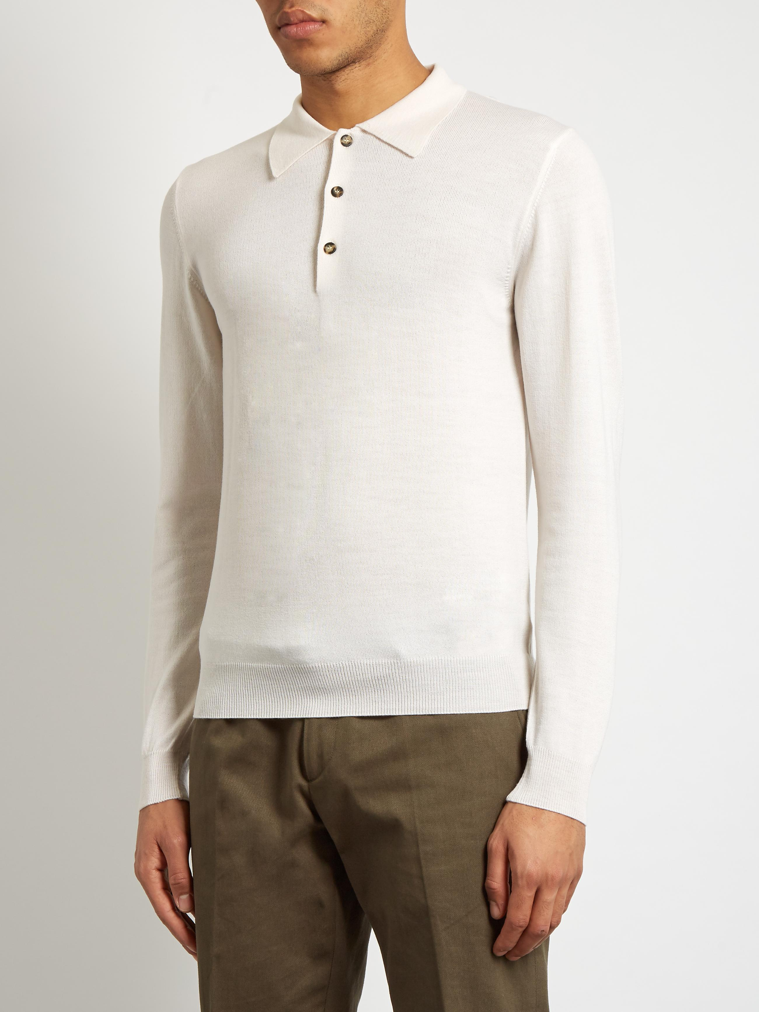 Lyst ditions mr long sleeved wool polo shirt in white for Long sleeve wool polo shirts