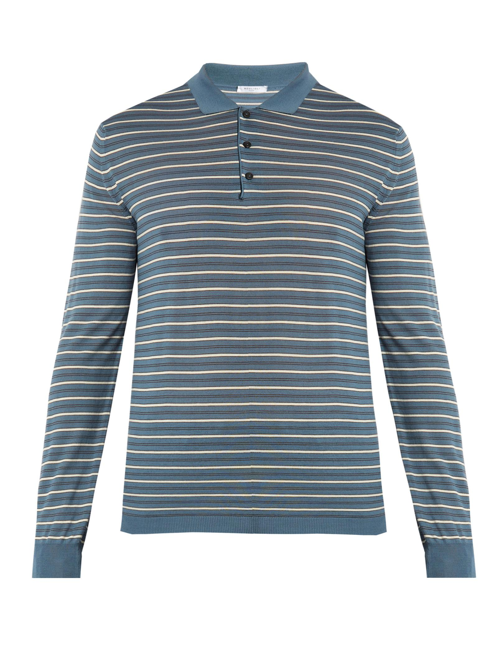 Boglioli long sleeved striped wool blend polo shirt in for Long sleeve wool polo shirts