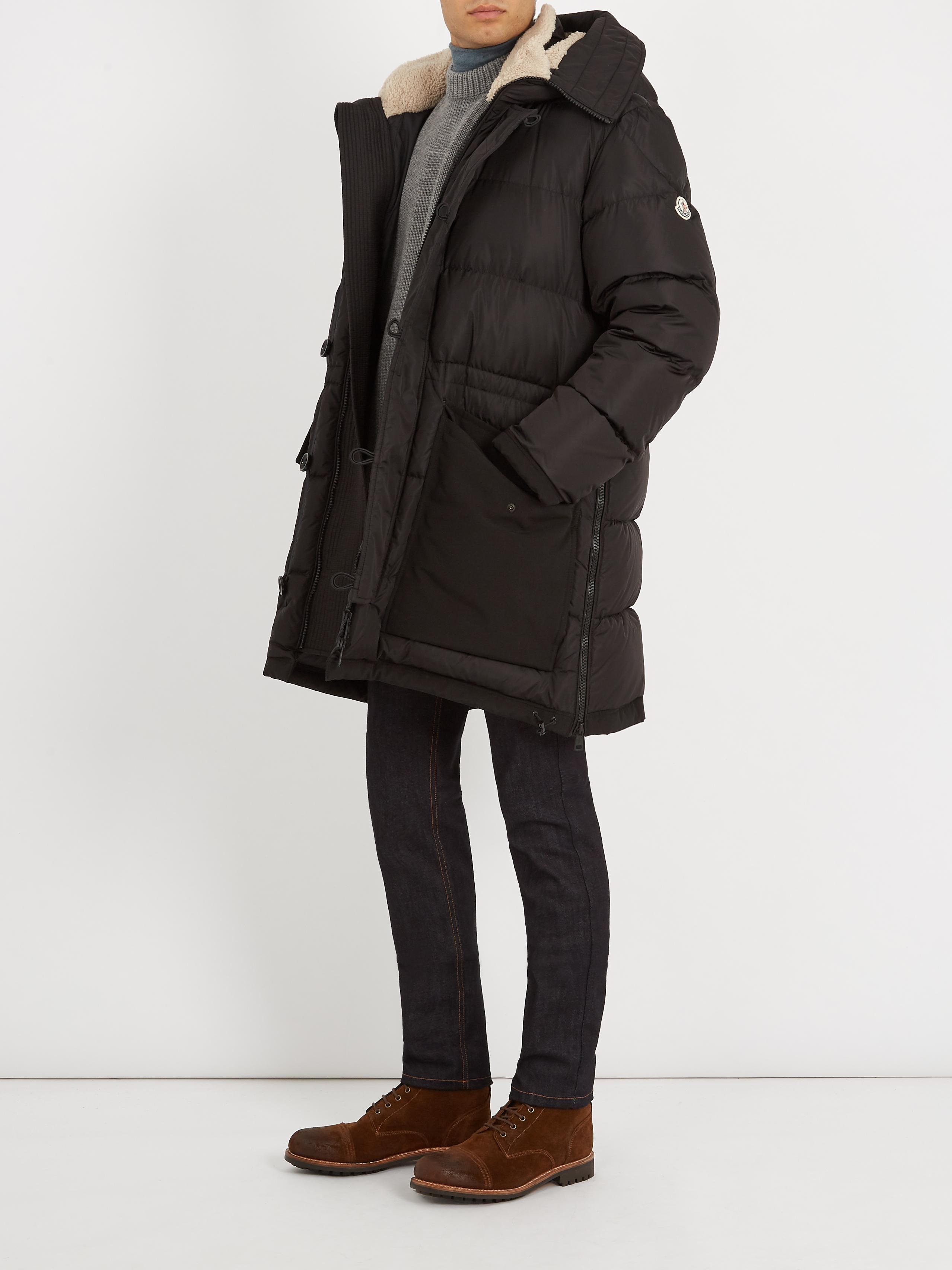 Moncler Black Loic Shearling-collar Quilted-down Parka for men