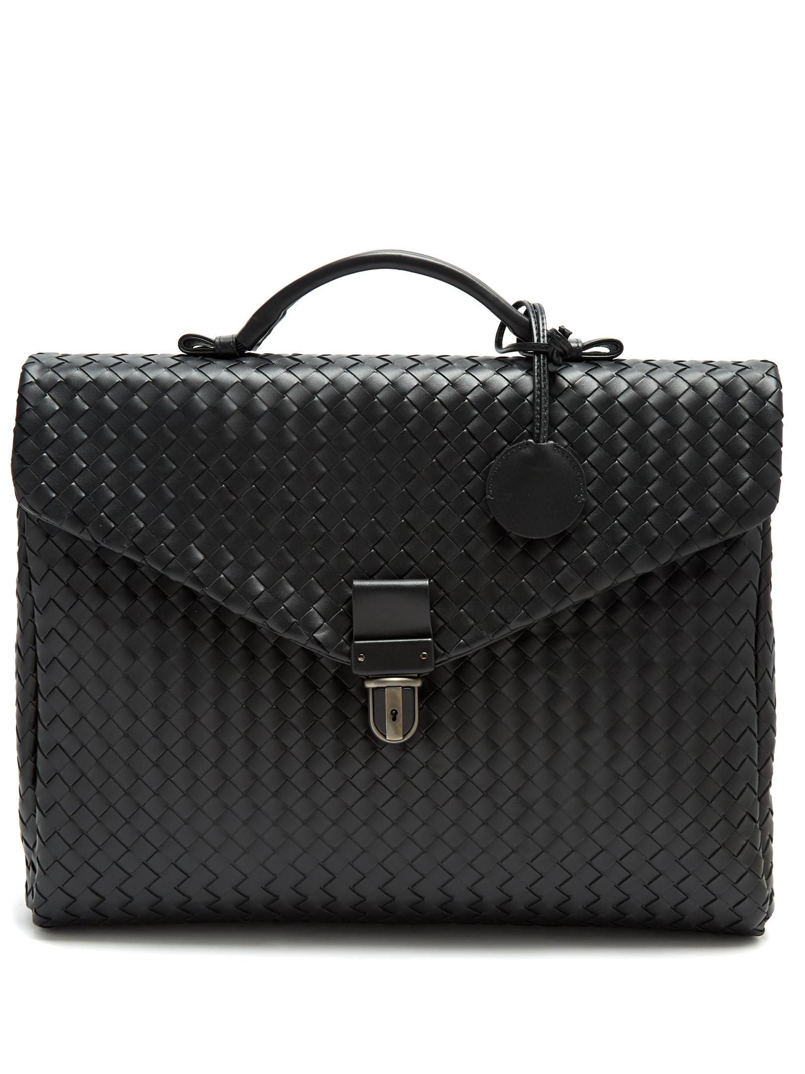 f7b8ab9745d5 Bottega Veneta Intrecciato Leather Briefcase in Black for Men - Lyst