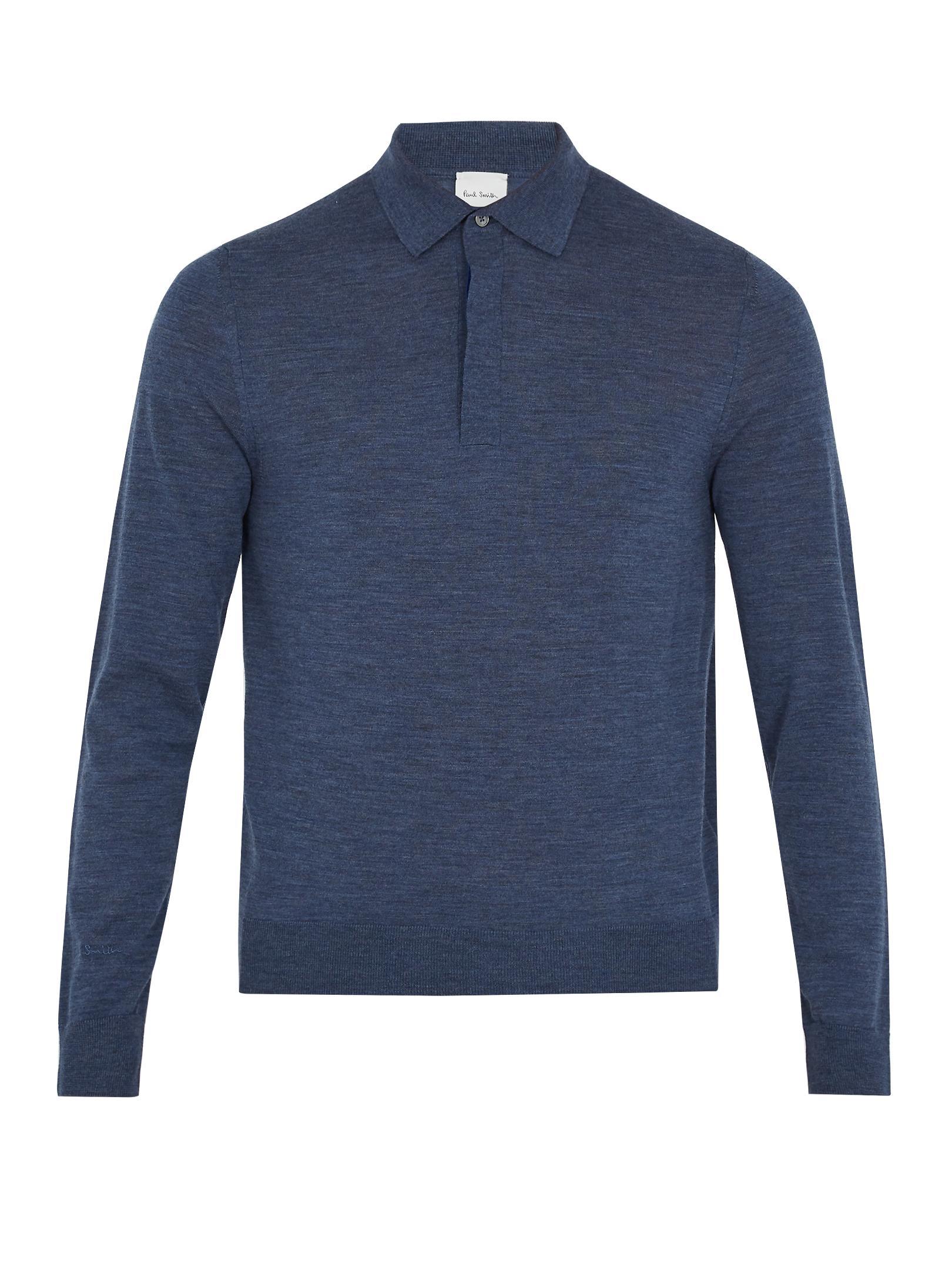 Paul smith long sleeved fine knit wool polo shirt in black for Long sleeve wool polo shirts