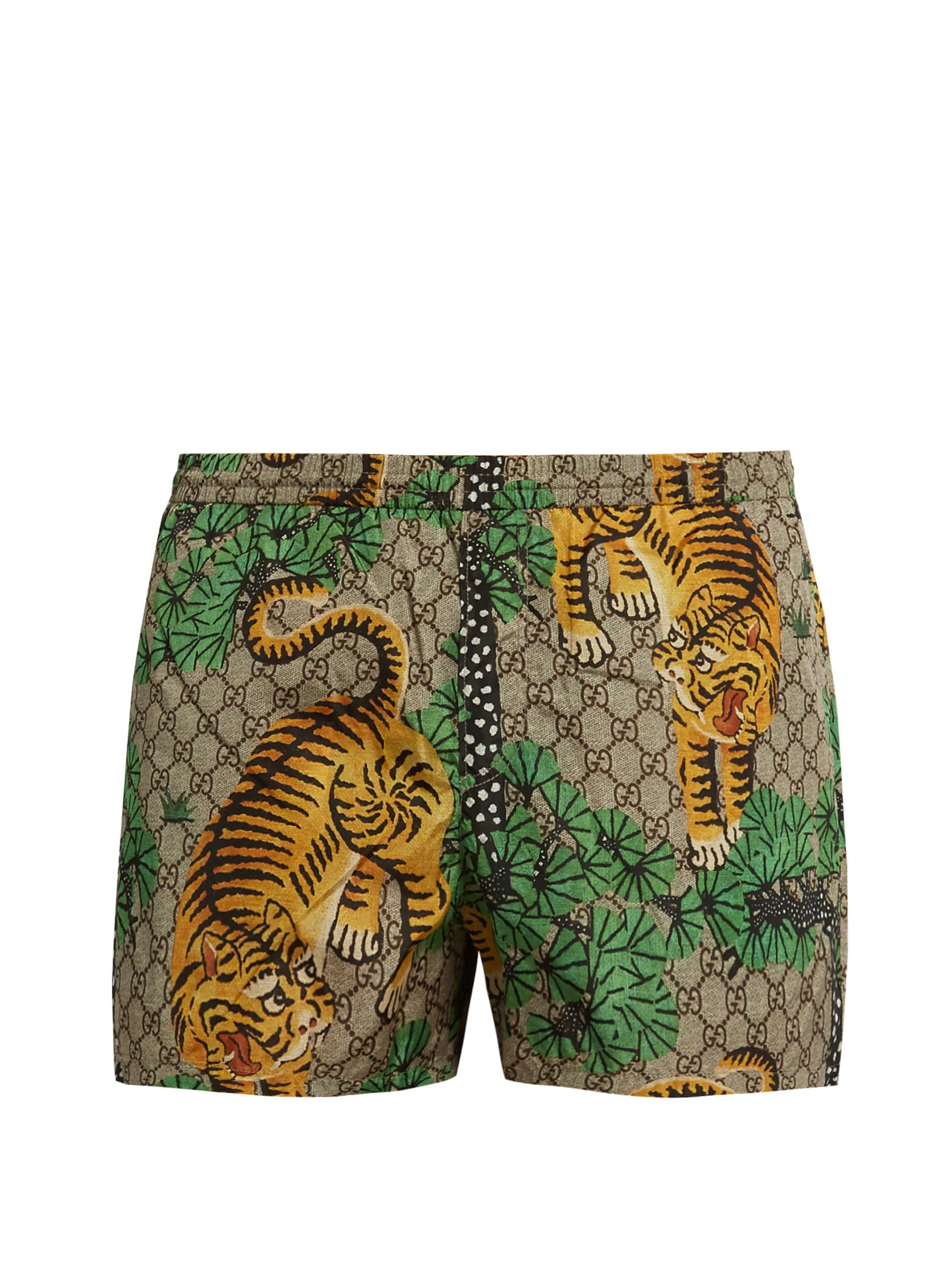 b38ff1edad7ac Gucci Bengal-print Swim Shorts in Green for Men - Lyst
