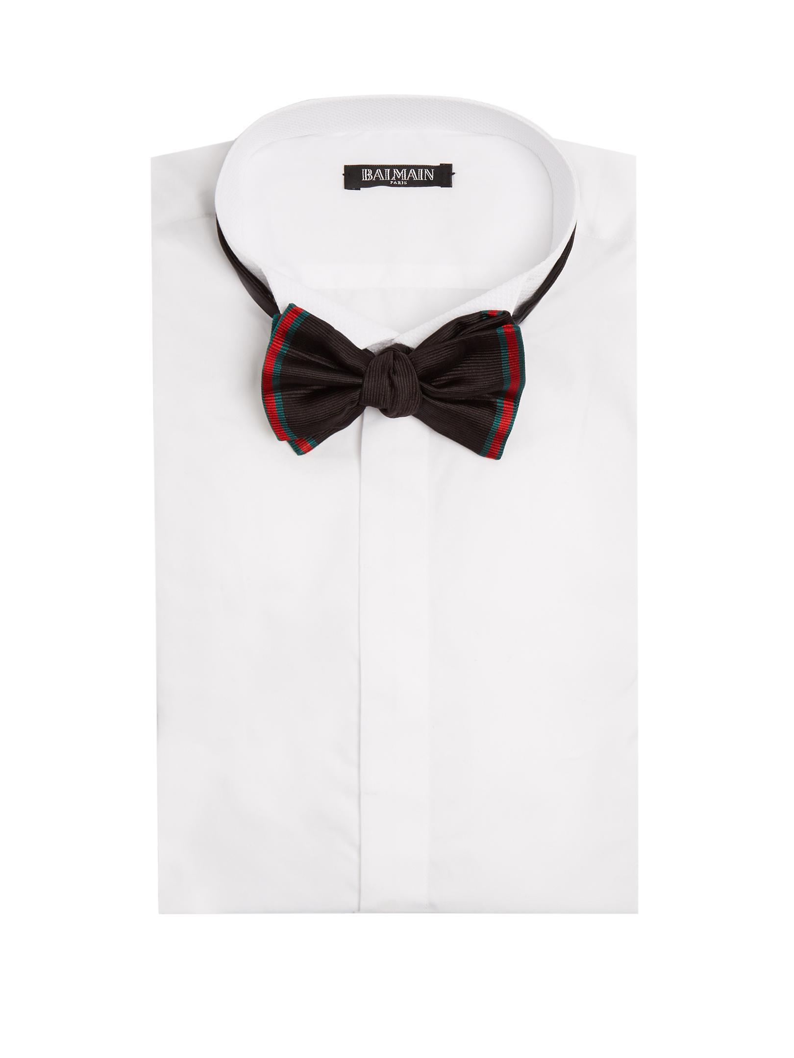 Gucci Web Striped Silk Bow Tie In Black For Men Lyst