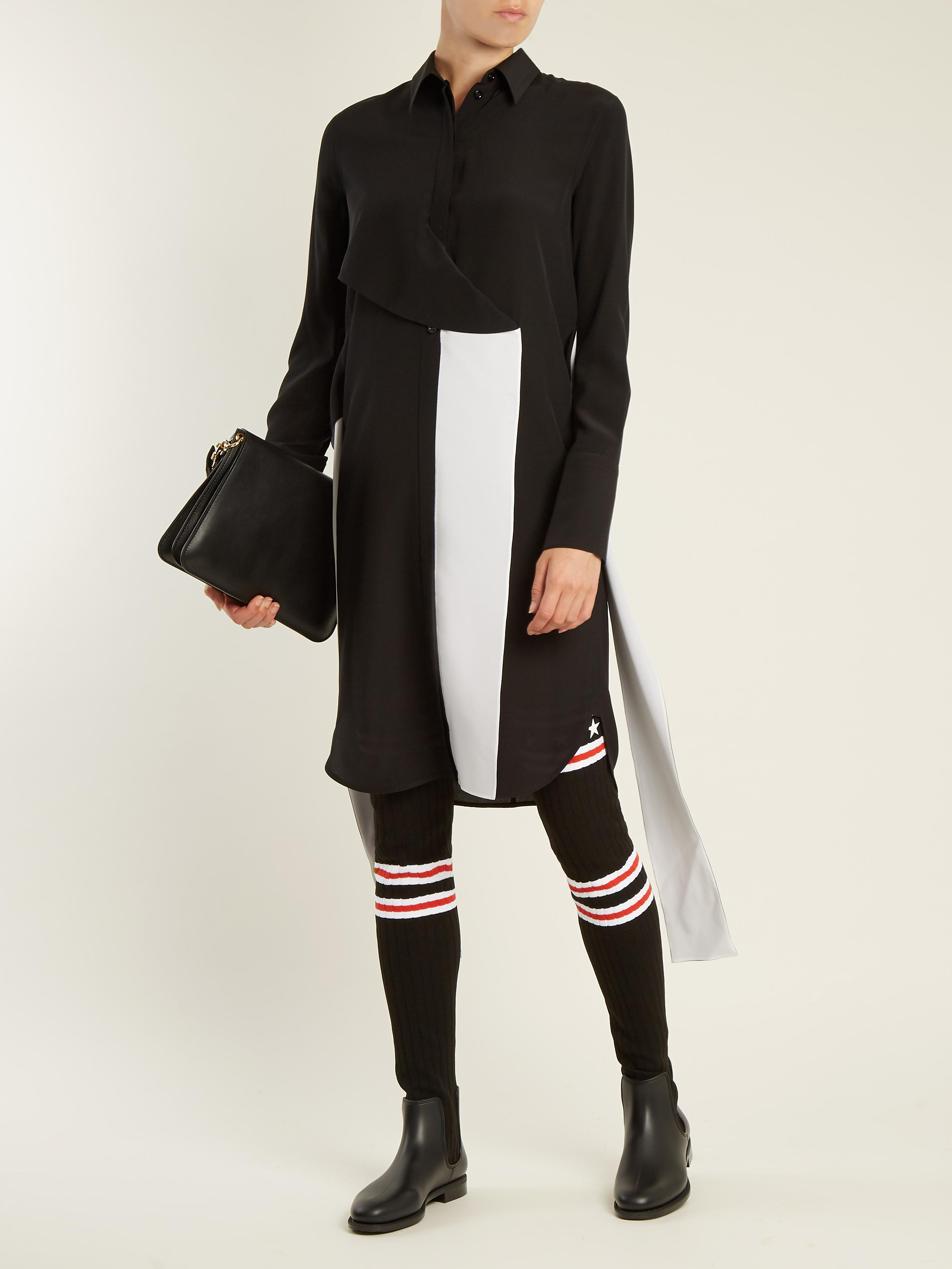 Givenchy Denim Storm Striped-knit Over-the-knee Boots in Black