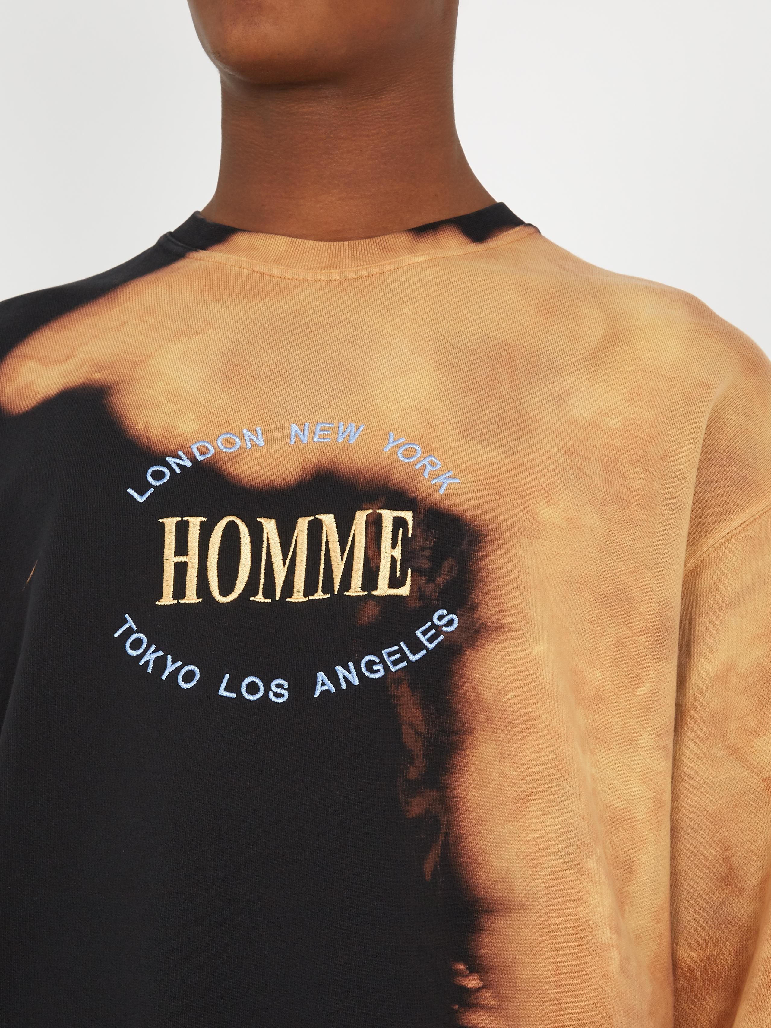lyst balenciaga homme embroidered bleached cotton sweatshirt in black for men. Black Bedroom Furniture Sets. Home Design Ideas