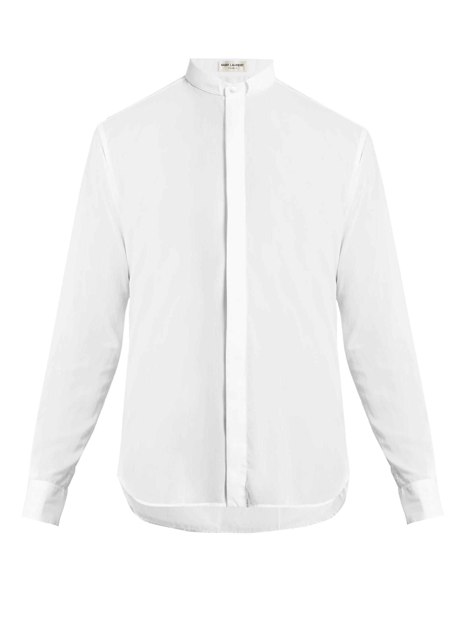 saint laurent narrow collar cotton shirt in white for men