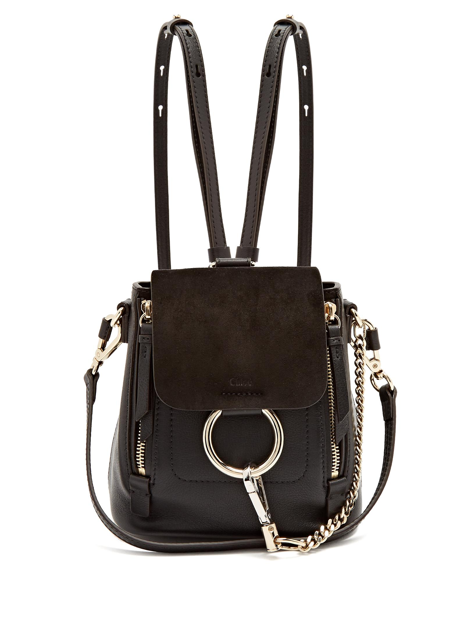 chlo faye mini suede and leather backpack in black lyst. Black Bedroom Furniture Sets. Home Design Ideas