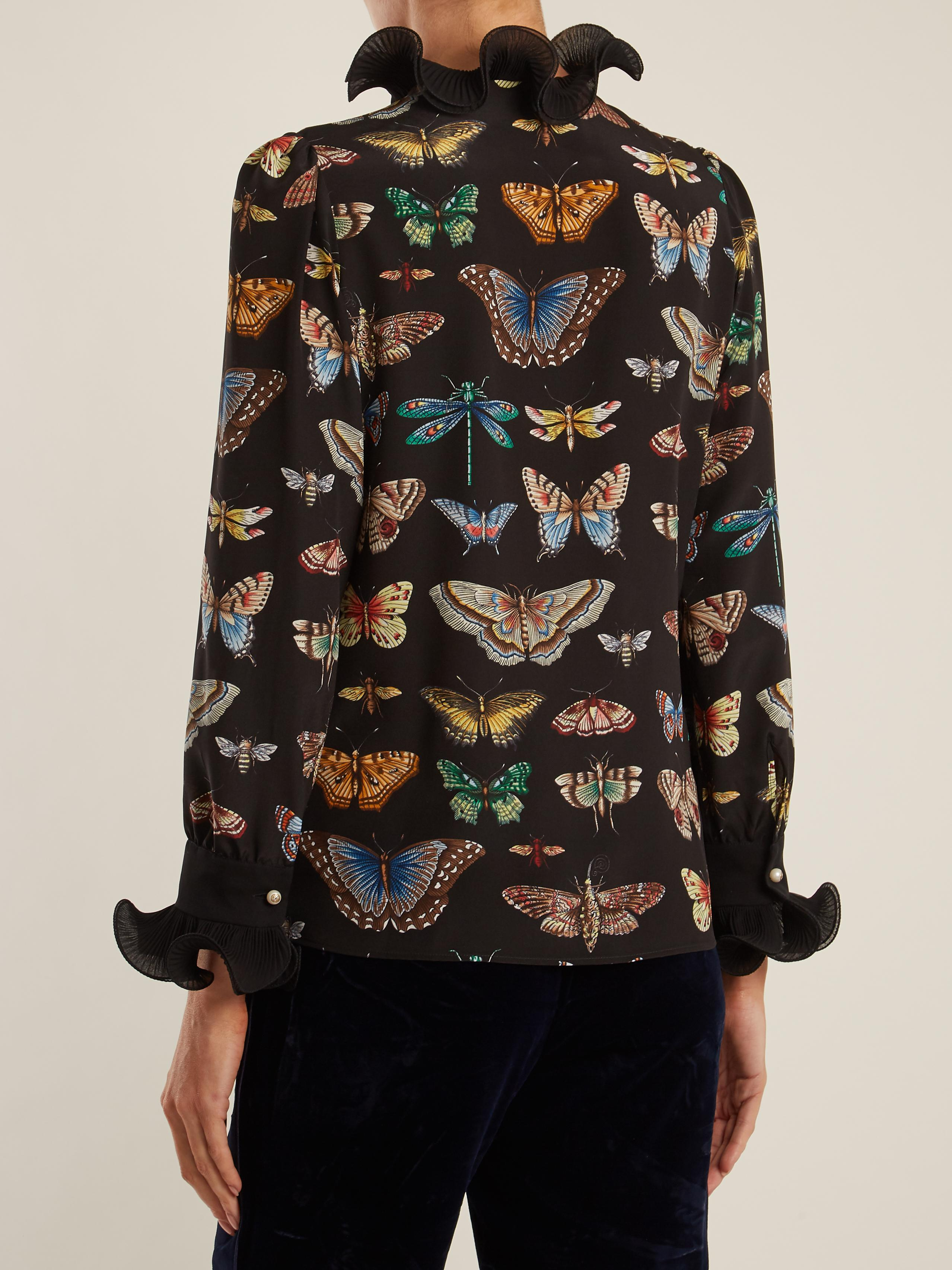 Gucci Butterfly Print Ruffled Silk Blouse In Black Lyst