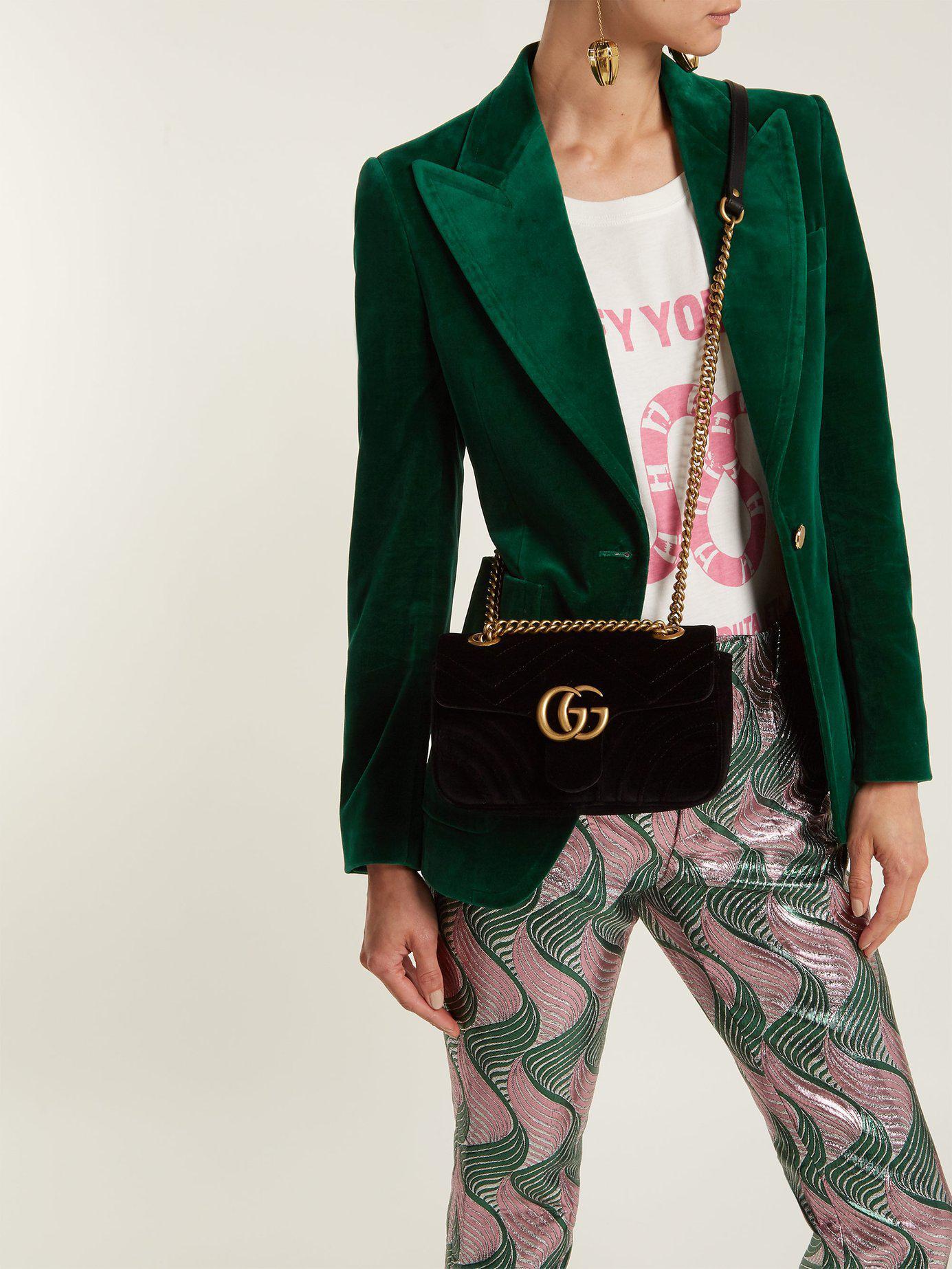 c768f8788bf Gucci Gg Marmont Mini Velvet Quilted Shoulder Bag in Black - Lyst