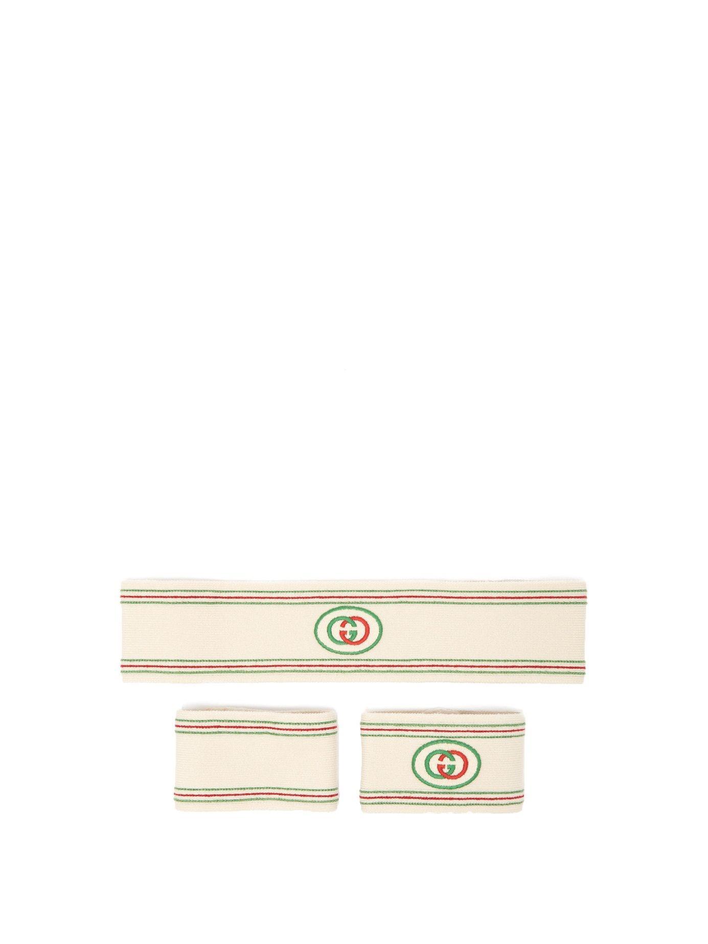 cc877fc2dff Lyst - Gucci Gg Web Stripe Head And Wristband Set for Men