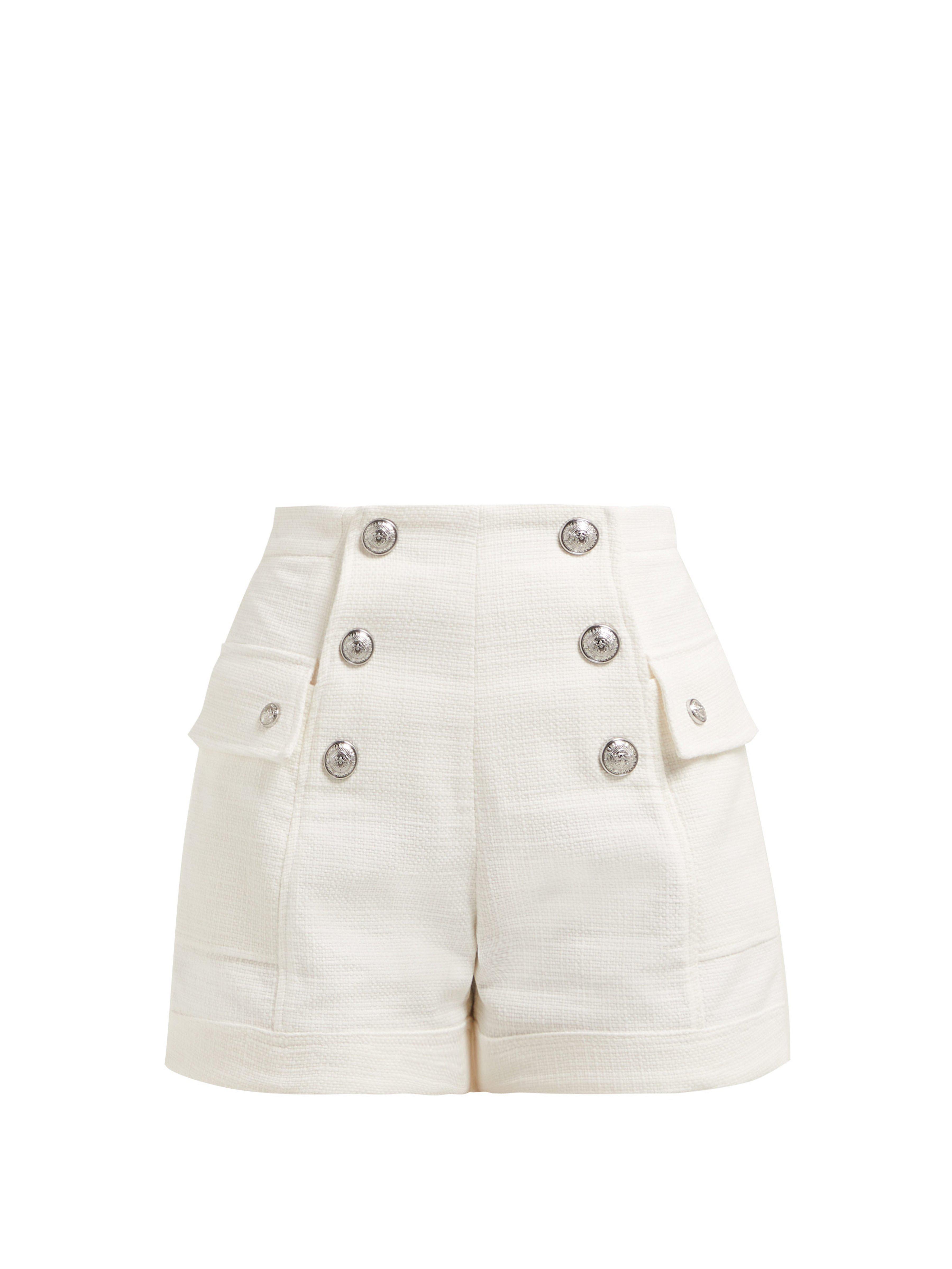 a7ba9d9573c Balmain High Rise Cotton Tweed Shorts in White - Lyst