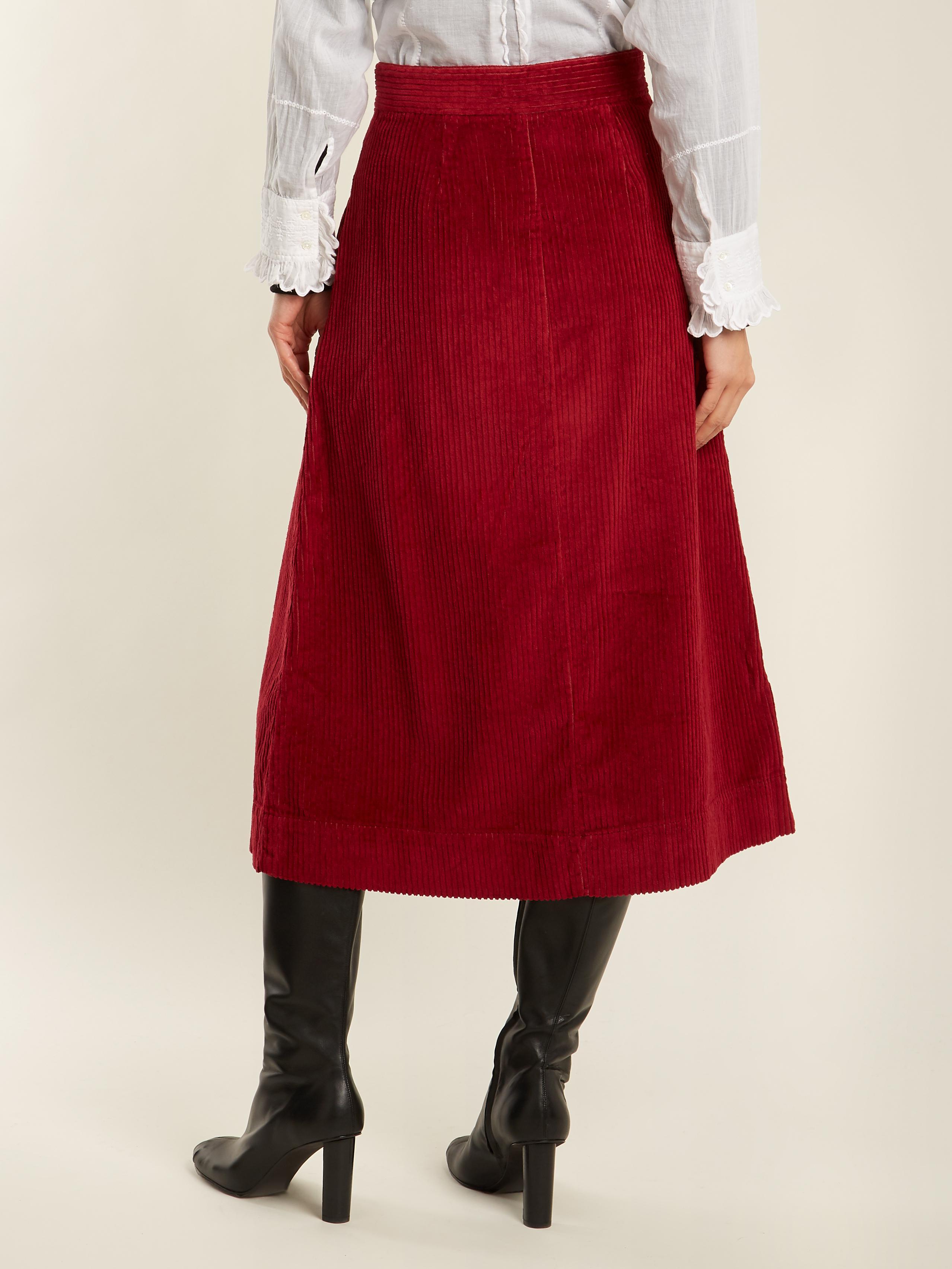 c9a8f2f8b MASSCOB A-line Cotton-blend Corduroy Midi Skirt in Red - Lyst