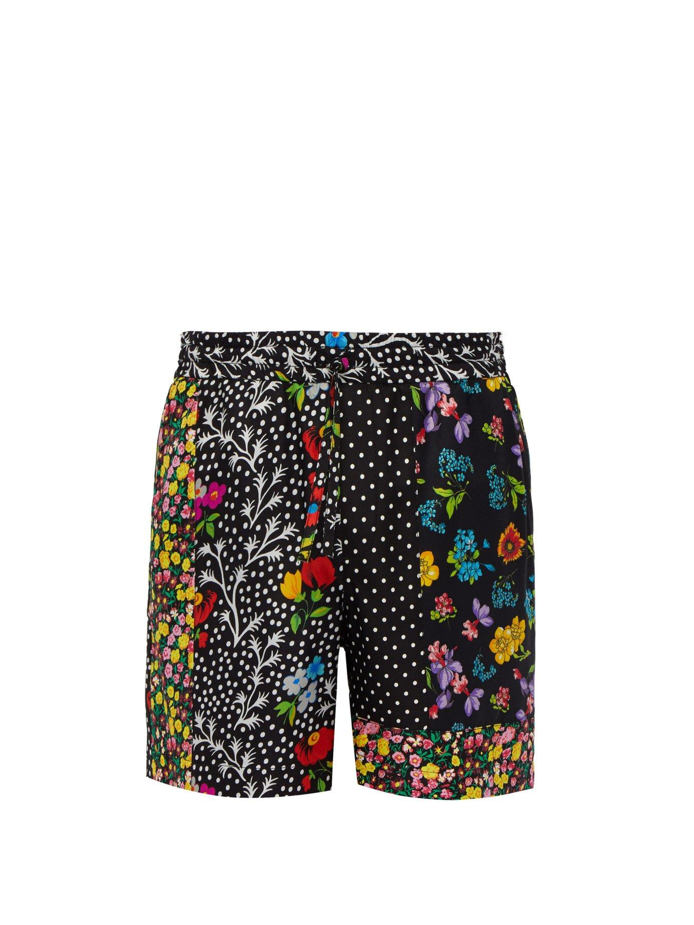 76efcc2ced Lyst - Versace Floral Printed Silk Twill Shorts in Black for Men