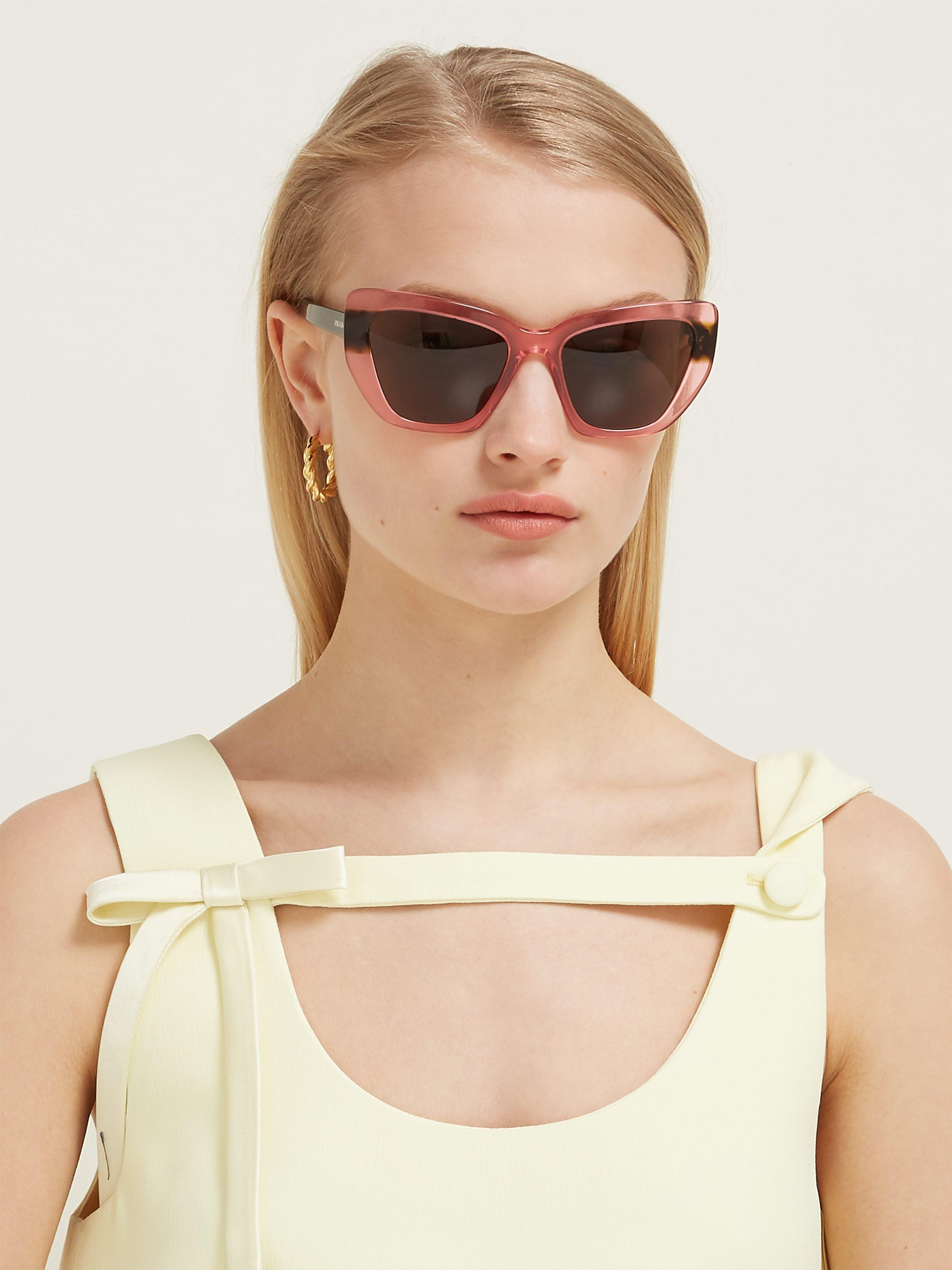 87c26a21376 Prada Winged Cat Eye Acetate Sunglasses in Pink - Lyst
