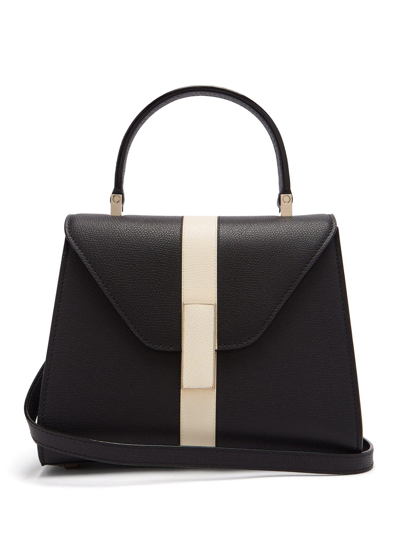 Lyst - Valextra Iside Striped Grained Leather Handbag in Black 3ec5f635ee9ab