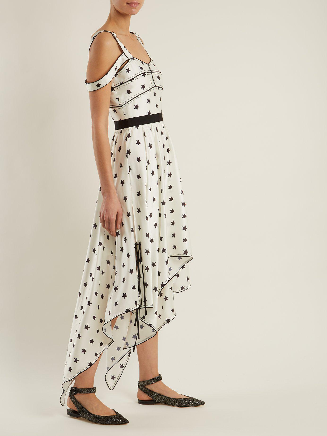 a2a77cc38fb3 Self-Portrait Handkerchief Hem Star Print Satin Dress in White - Lyst
