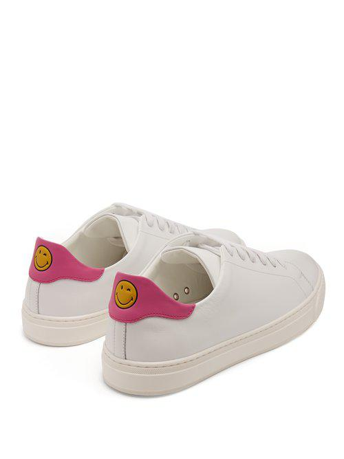 Anya Hindmarch Wink Low-top Leather Trainers in Pink White (White)