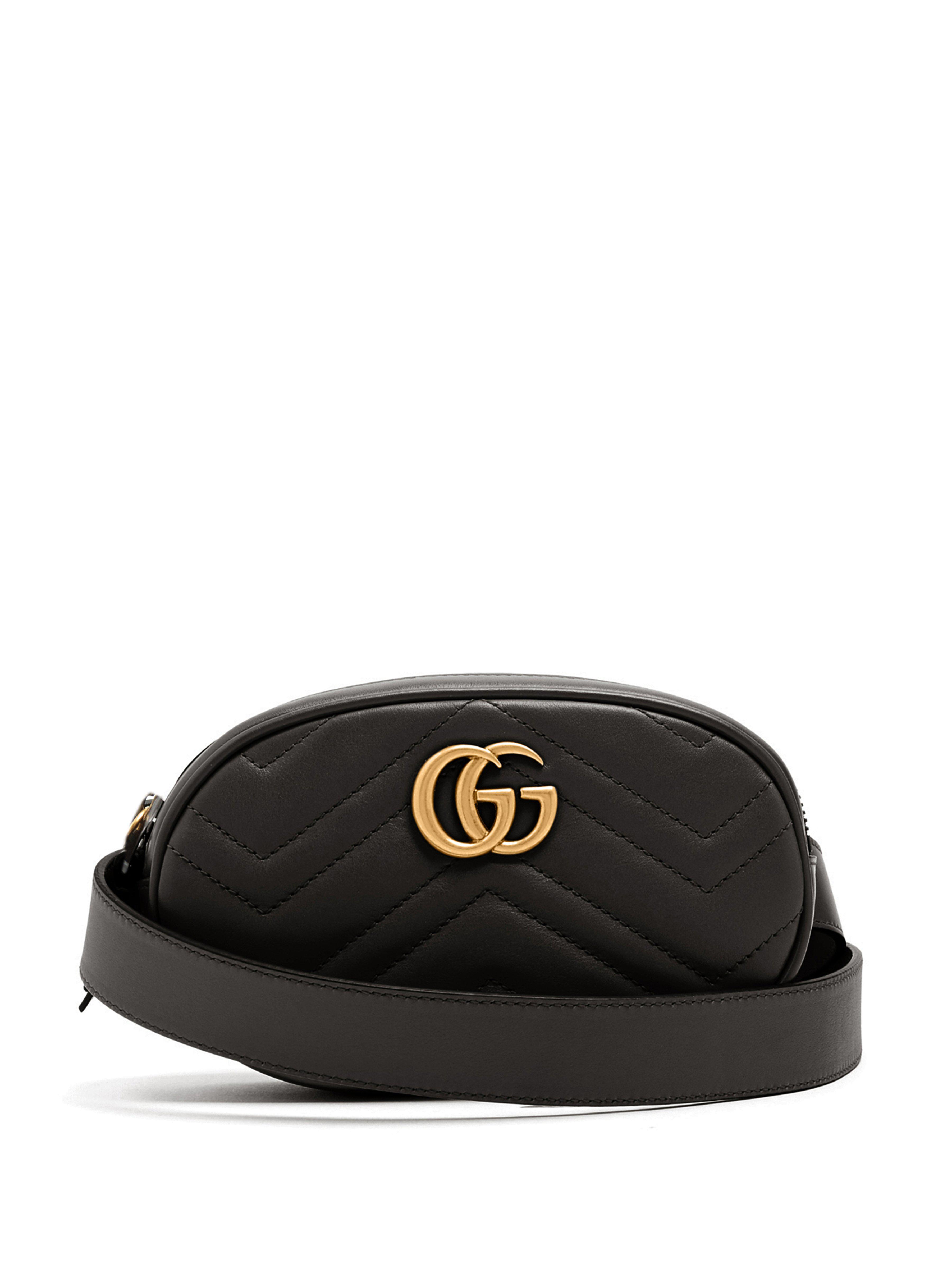 696b55f2117 Gucci. Sac ceinture en cuir matelassé GG Marmont femme de coloris noir