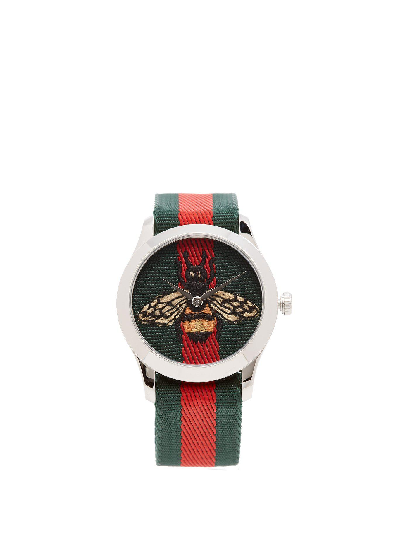 6f2e91658b5 Lyst - Gucci G Timeless Web Striped Canvas Watch for Men