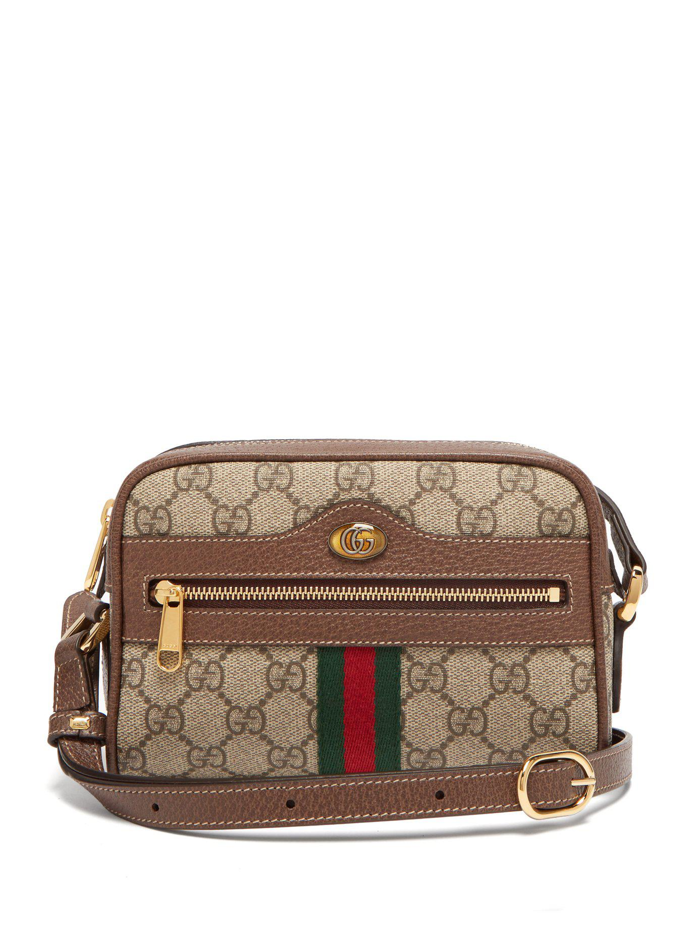 e9e67b931542 Gucci Ophidia Gg Supreme Cross Body Mini Bag in Gray - Lyst