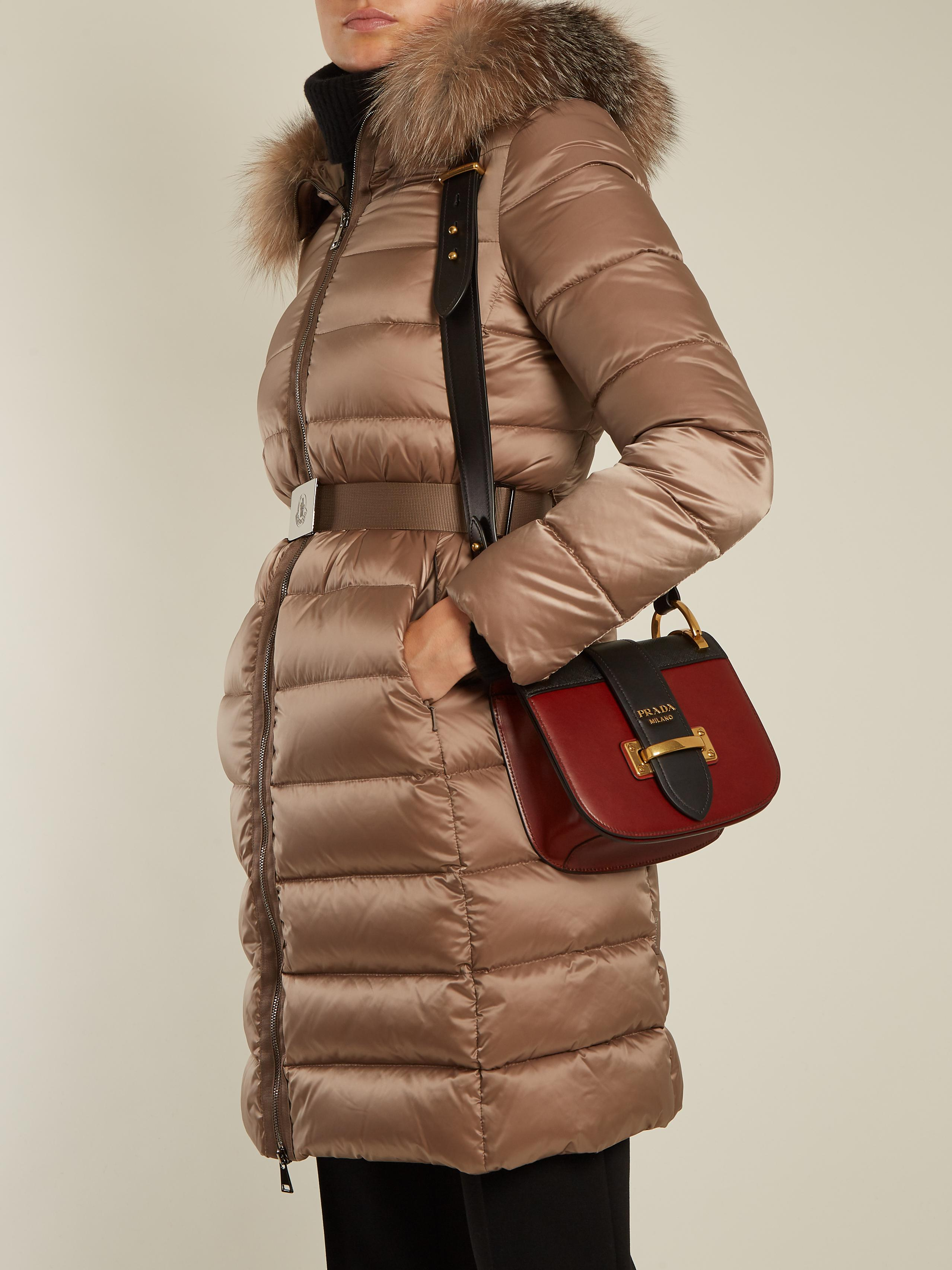 d0a010d68 Moncler Tinuviel Hooded Fur-trimmed Quilted Down Coat in Brown - Lyst