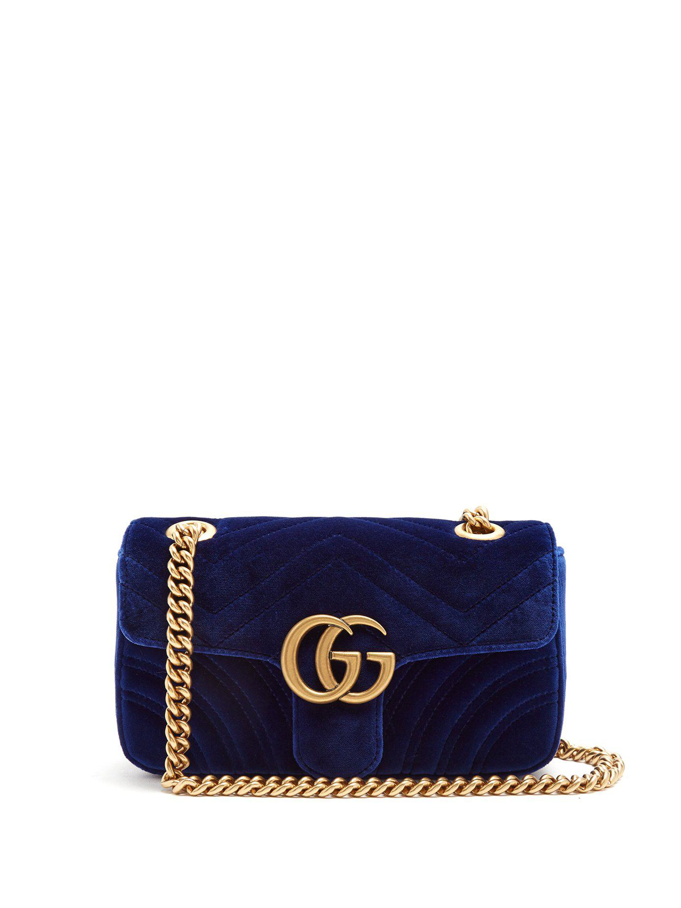 3958ce516517 Gucci Gg Marmont Mini Quilted Velvet Cross Body Bag in Blue - Save ...