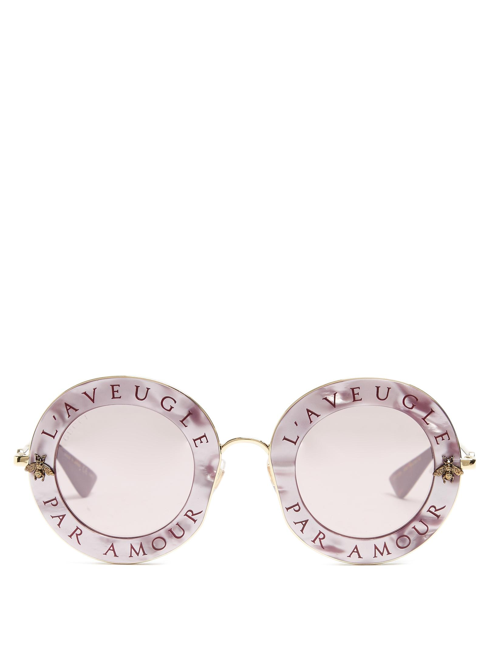 f97cce5a557 Lyst - Gucci L aveugle Par Amour Metal Sunglasses in Pink