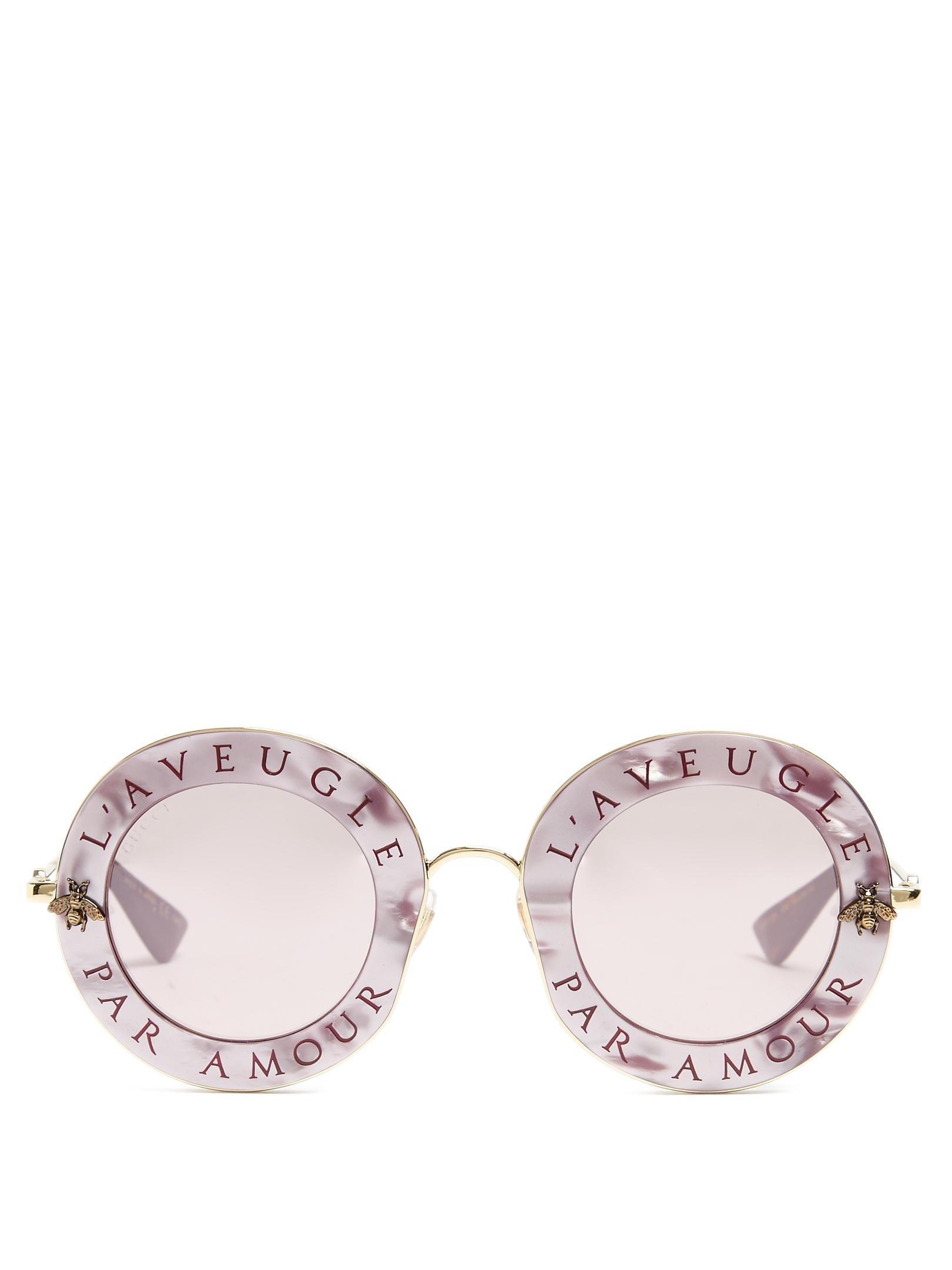2a19861f6cc Lyst - Gucci L aveugle Par Amour Metal Sunglasses in Pink