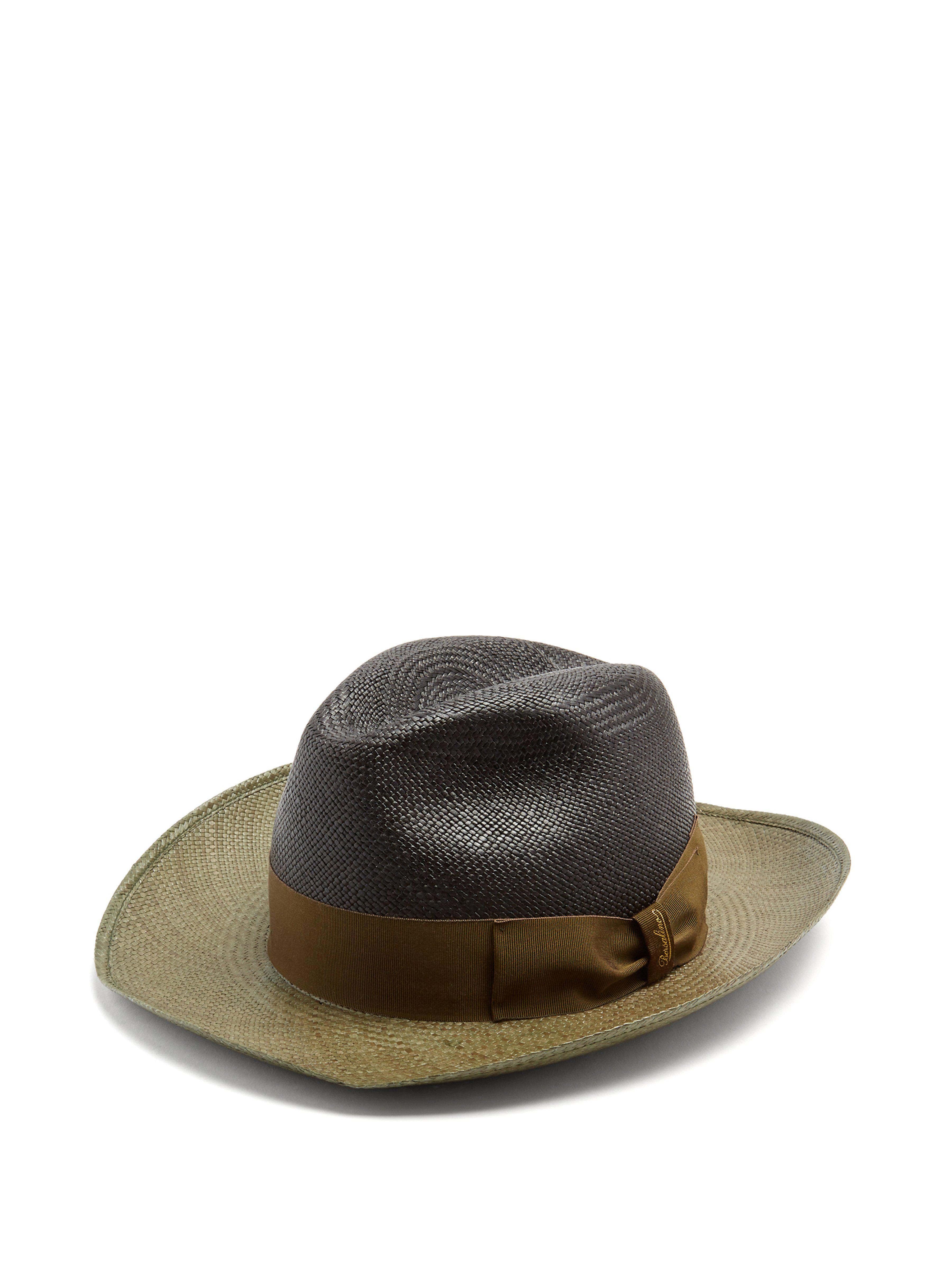3c1afef2372 Borsalino Bi Colour Bow Embellished Panama Hat for Men - Lyst