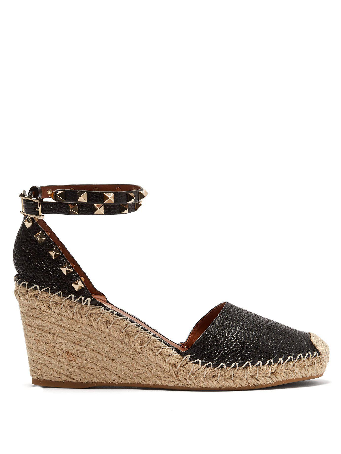 223eb6f30cf3 Valentino. Women s Black Garavani The Rockstud 85 Textured-leather  Espadrille Wedge Sandals