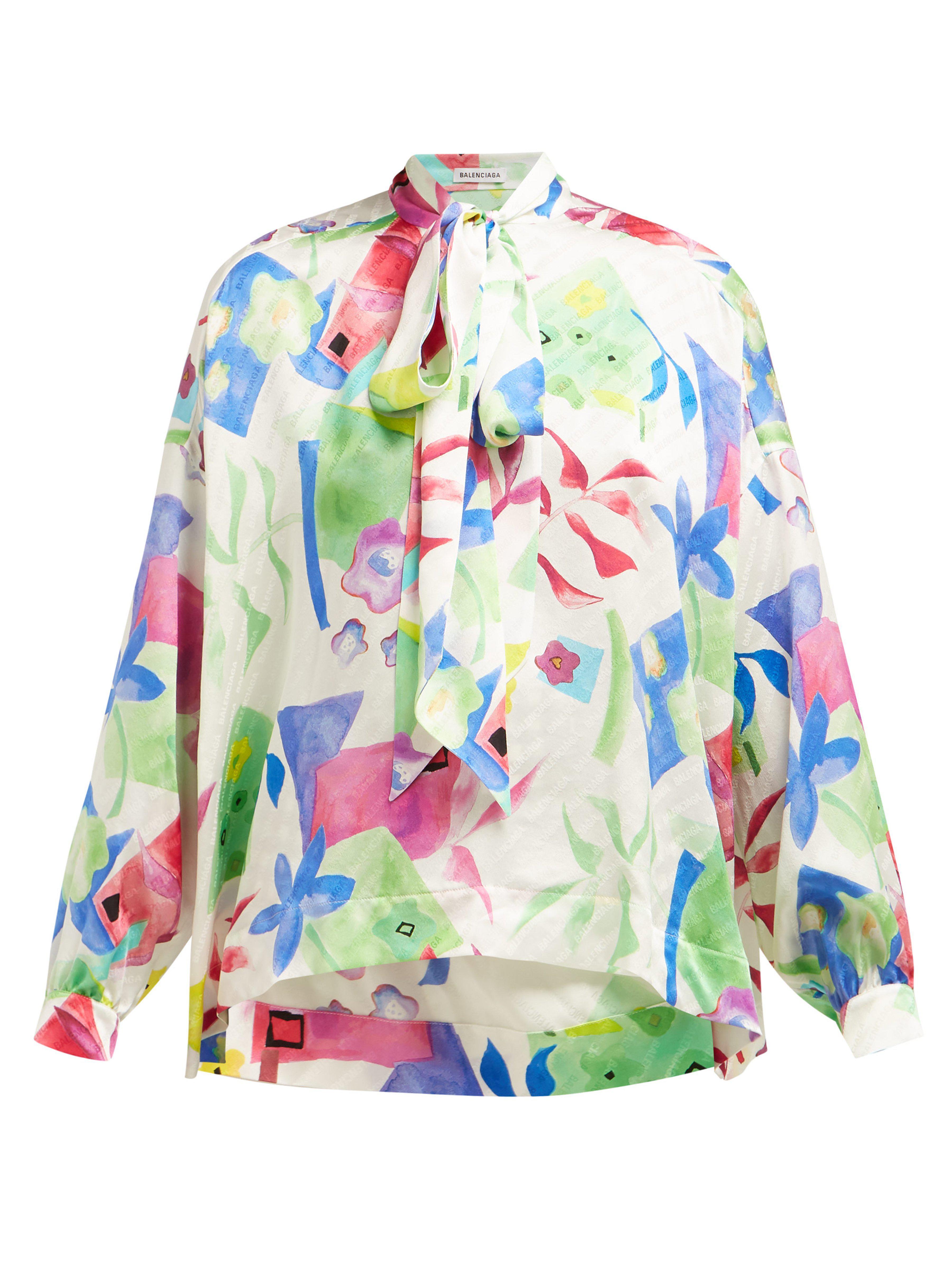 82b9b106ffcc Balenciaga - Multicolor Floral Print Logo Jacquard Silk Blouse - Lyst. View  fullscreen