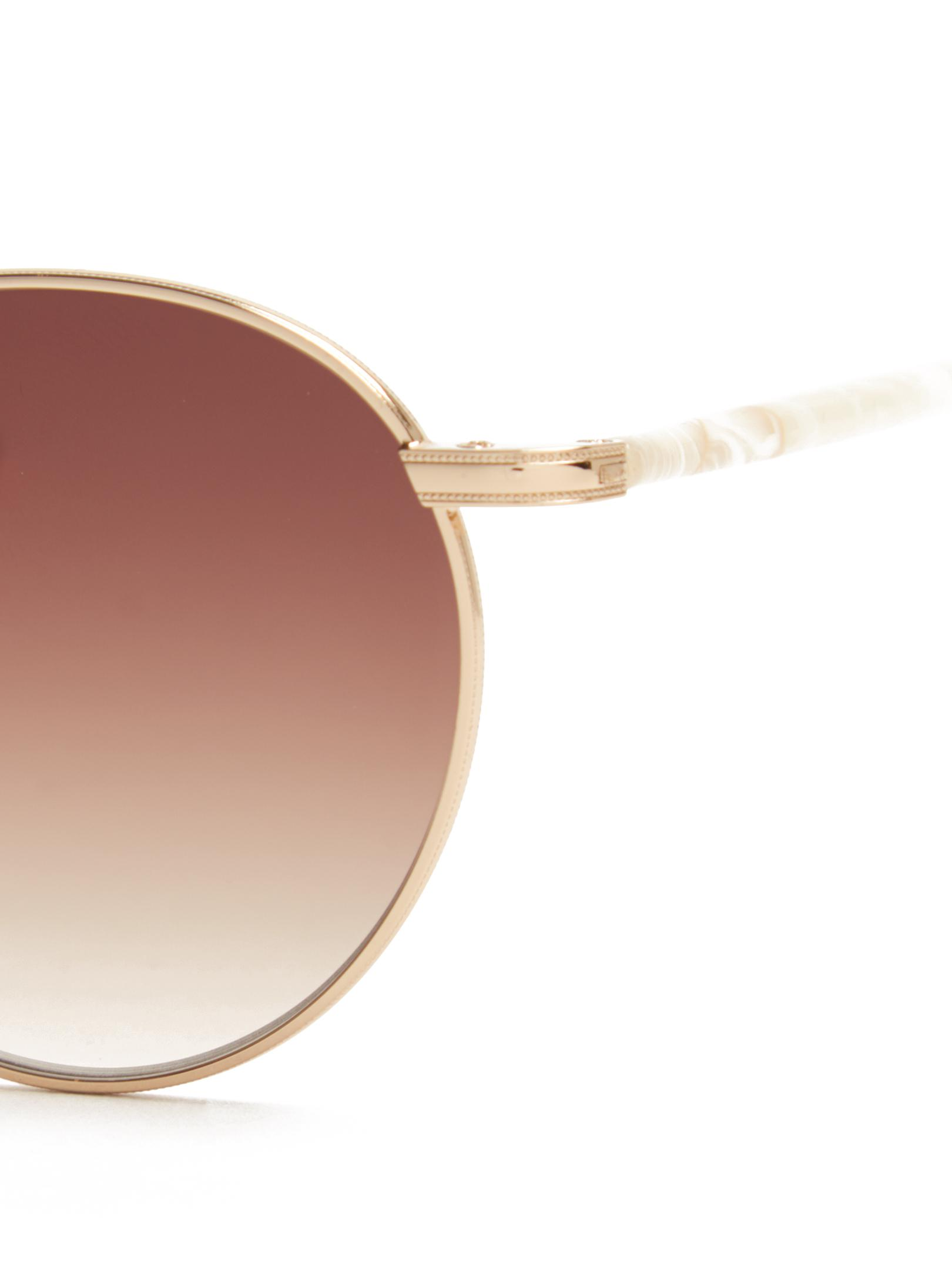 Garrett Leight Denim Wilson Round-frame Sunglasses in Gold (Metallic)