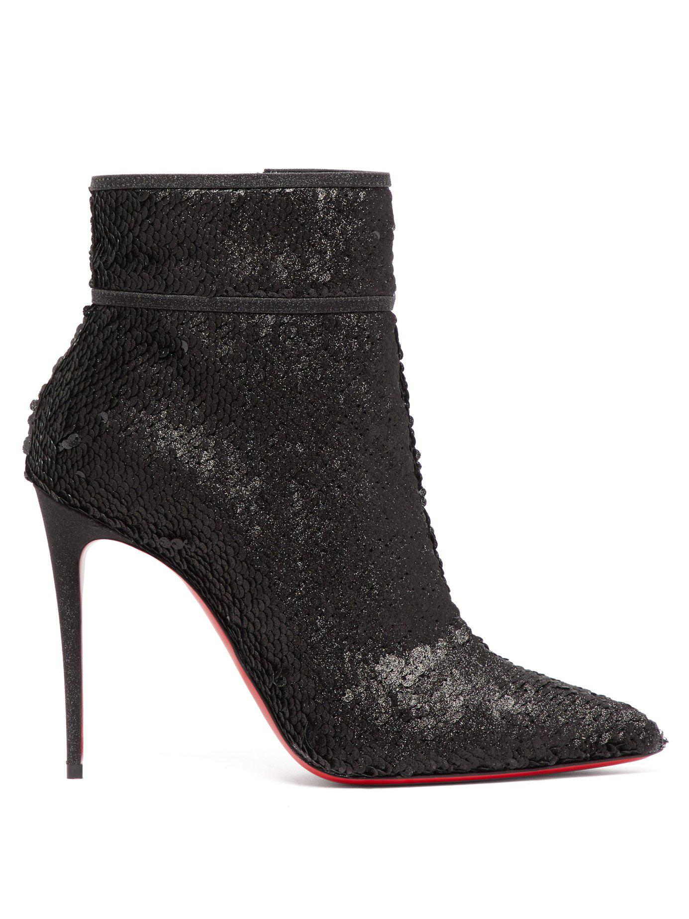 8d08be945c09 Lyst - Christian Louboutin Moulakate 100 Sequin Ankle Boots in Black