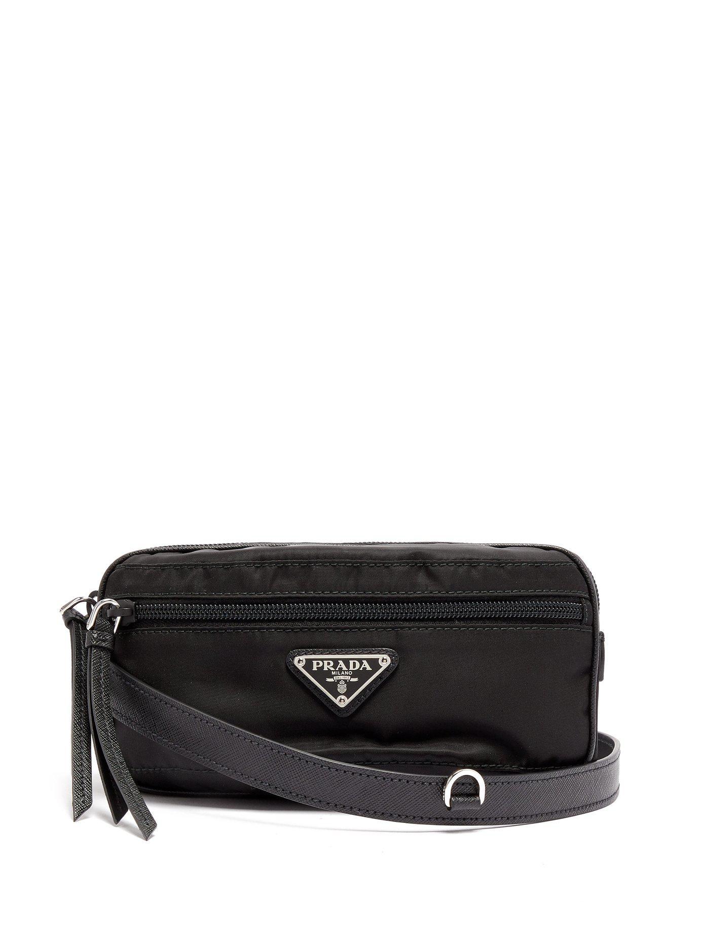 Prada - Black Nylon And Leather Belt Bag - Lyst. View fullscreen 0bd0d30aa2cd9