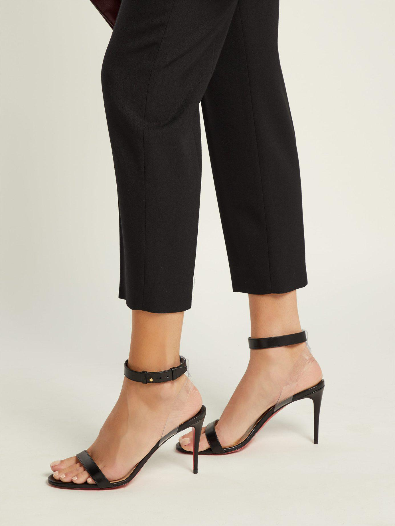new style eb832 28261 Women's Black Jonatina 85mm Leather Sandals