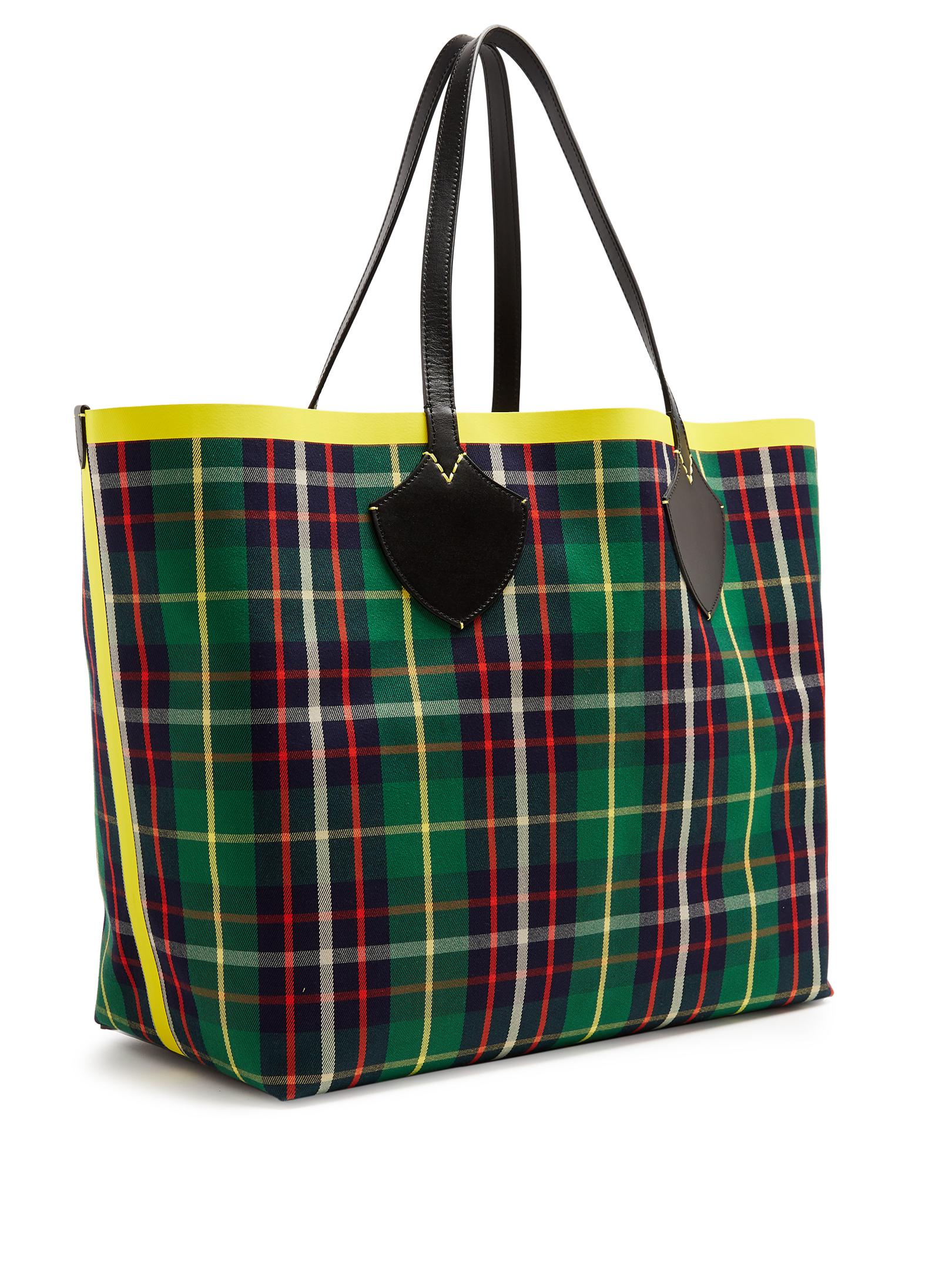 Burberry Leather Tartan Reversible Tote Bag in Green