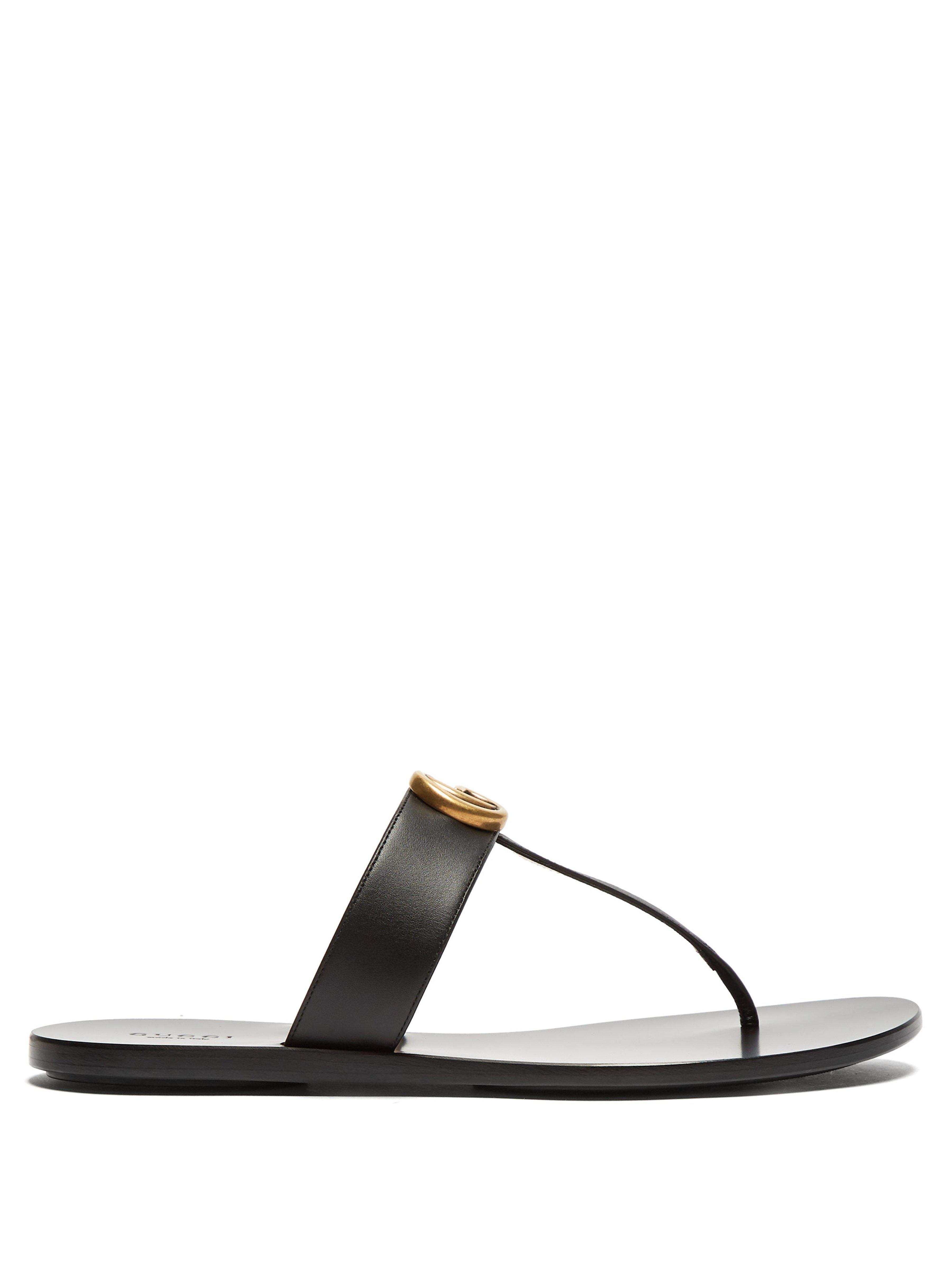 bcefc19e640 Gucci Gg Marmont Flat Leather Sandals in Black - Lyst